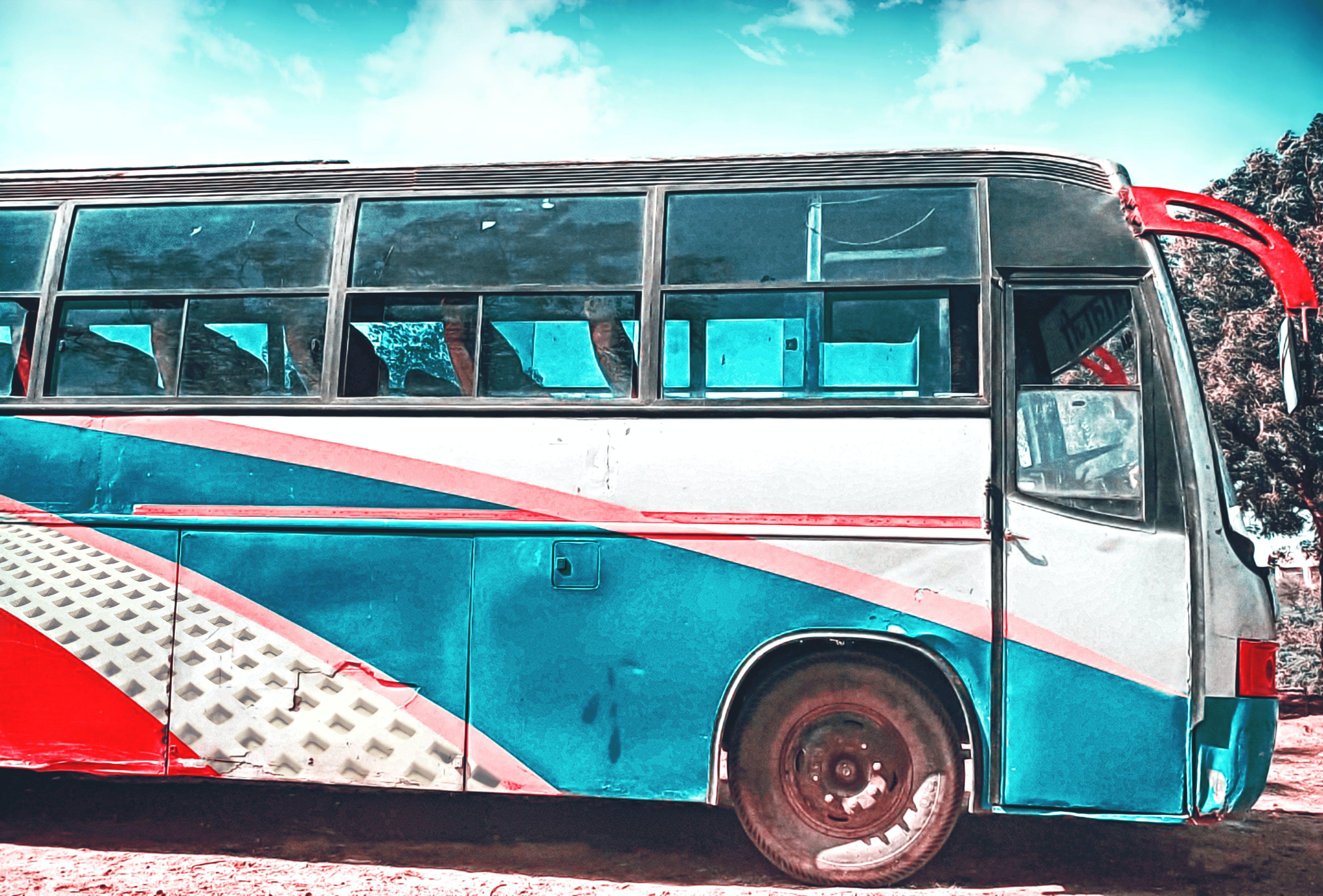 Free stock photo of Adobe Photoshop, blue, blue sky, bus