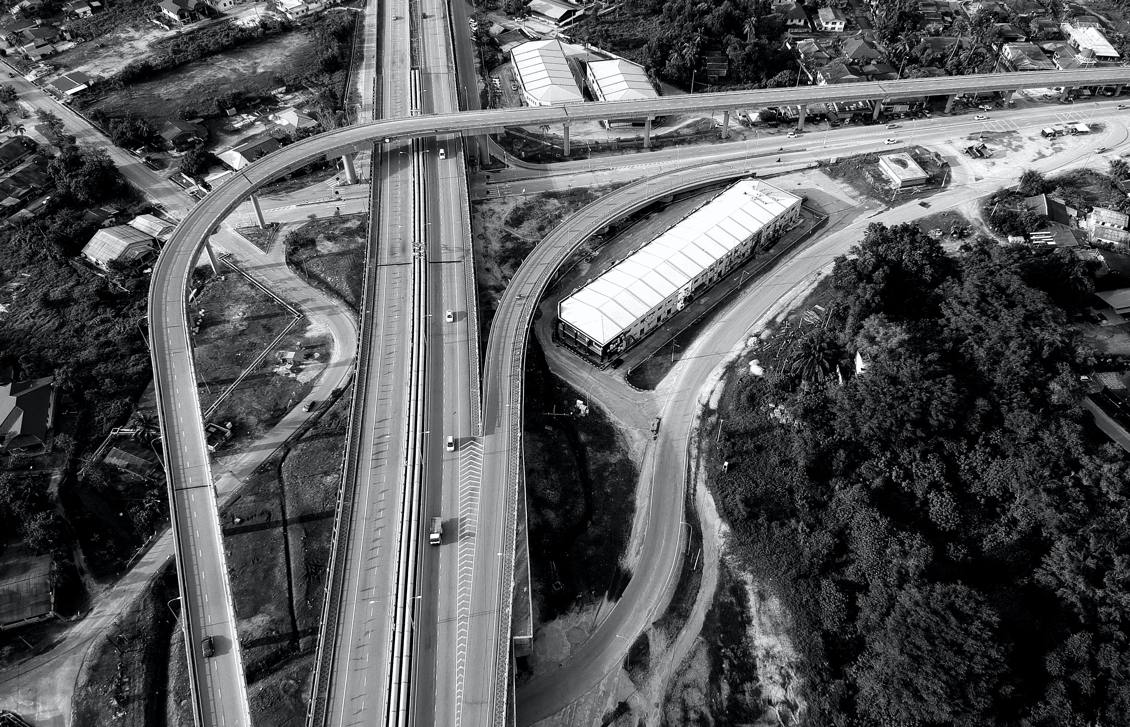 Grayscale Top View Photography of Roads Near Trees