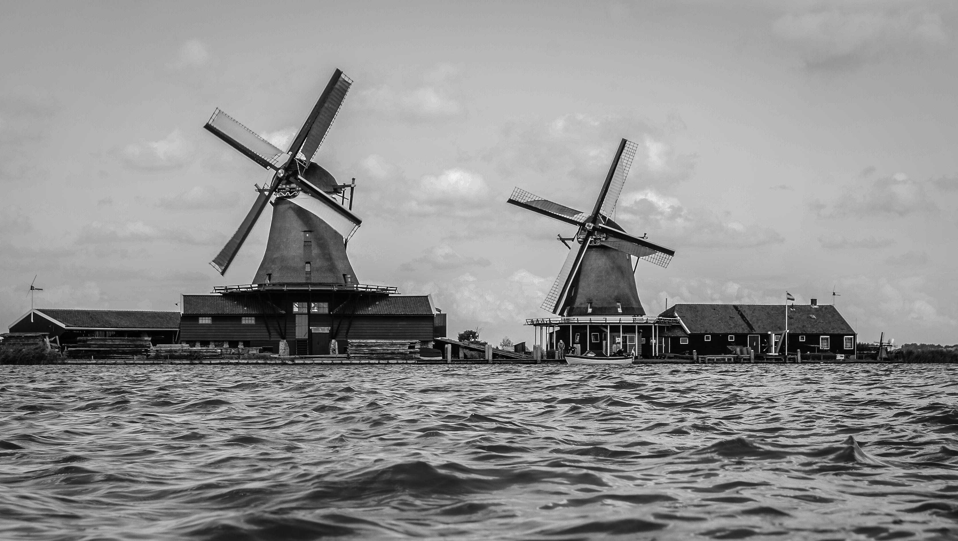 Two Gray Windmill