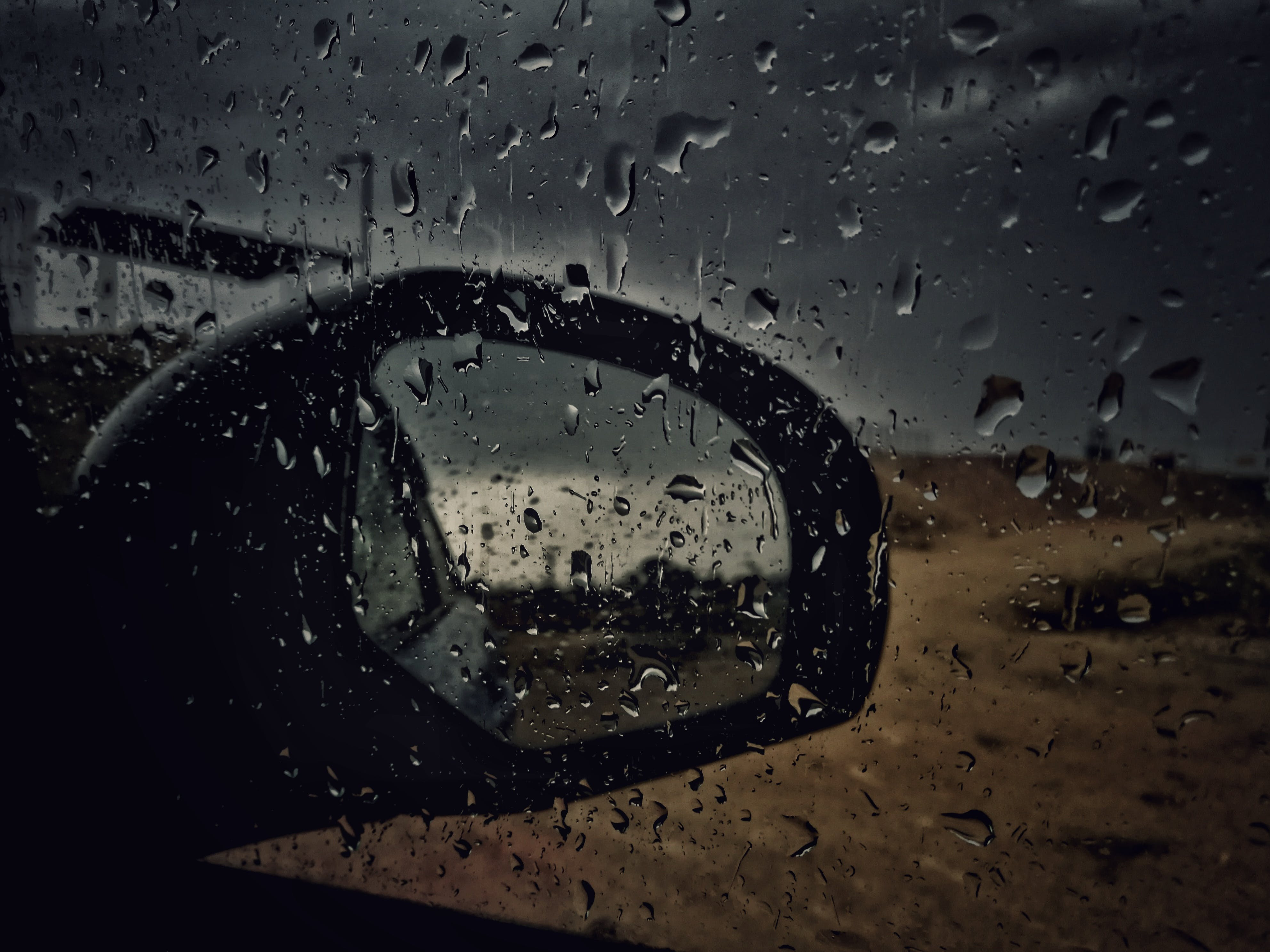 Car Window Panel With Water Droplets