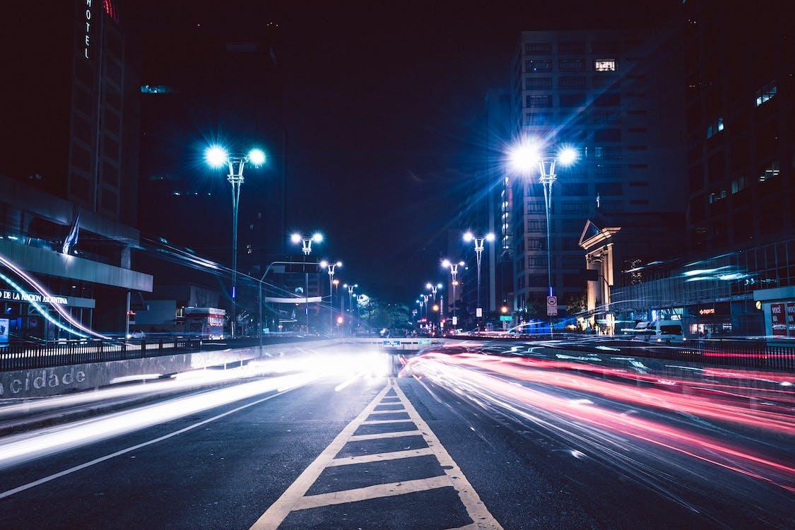 aften, bevægelse, bil