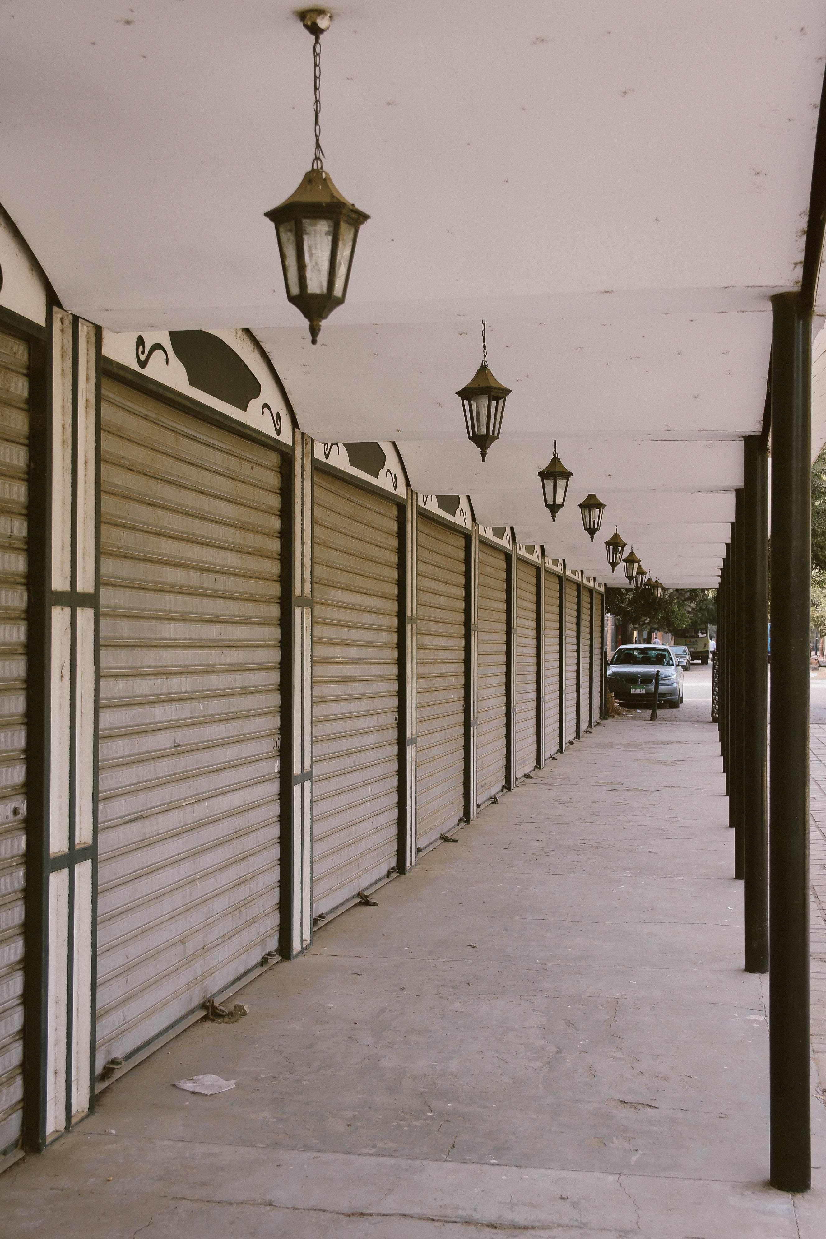 Pathway With Pendant Lamps