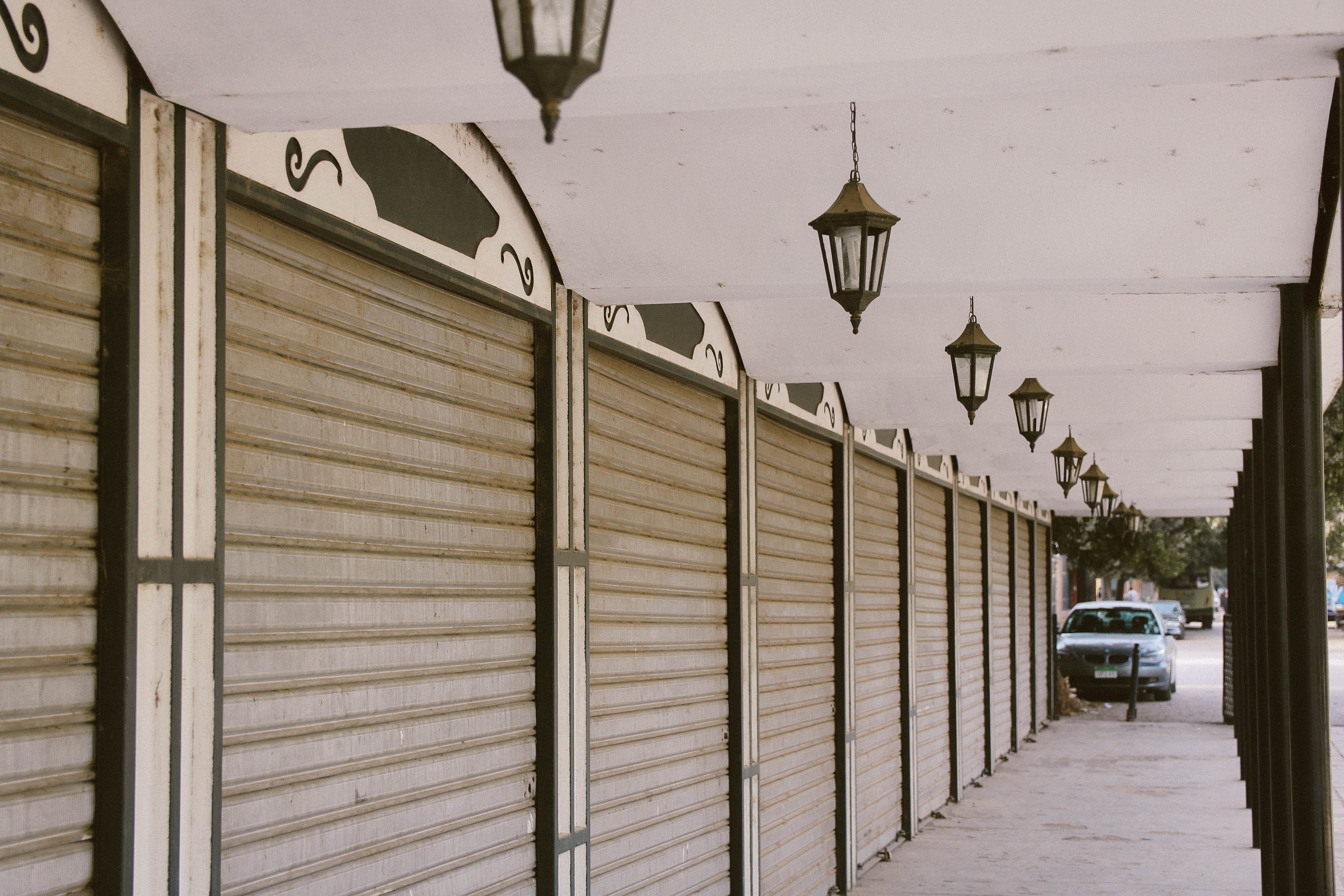 Wide Angle Photo of Gray Roller Shutters