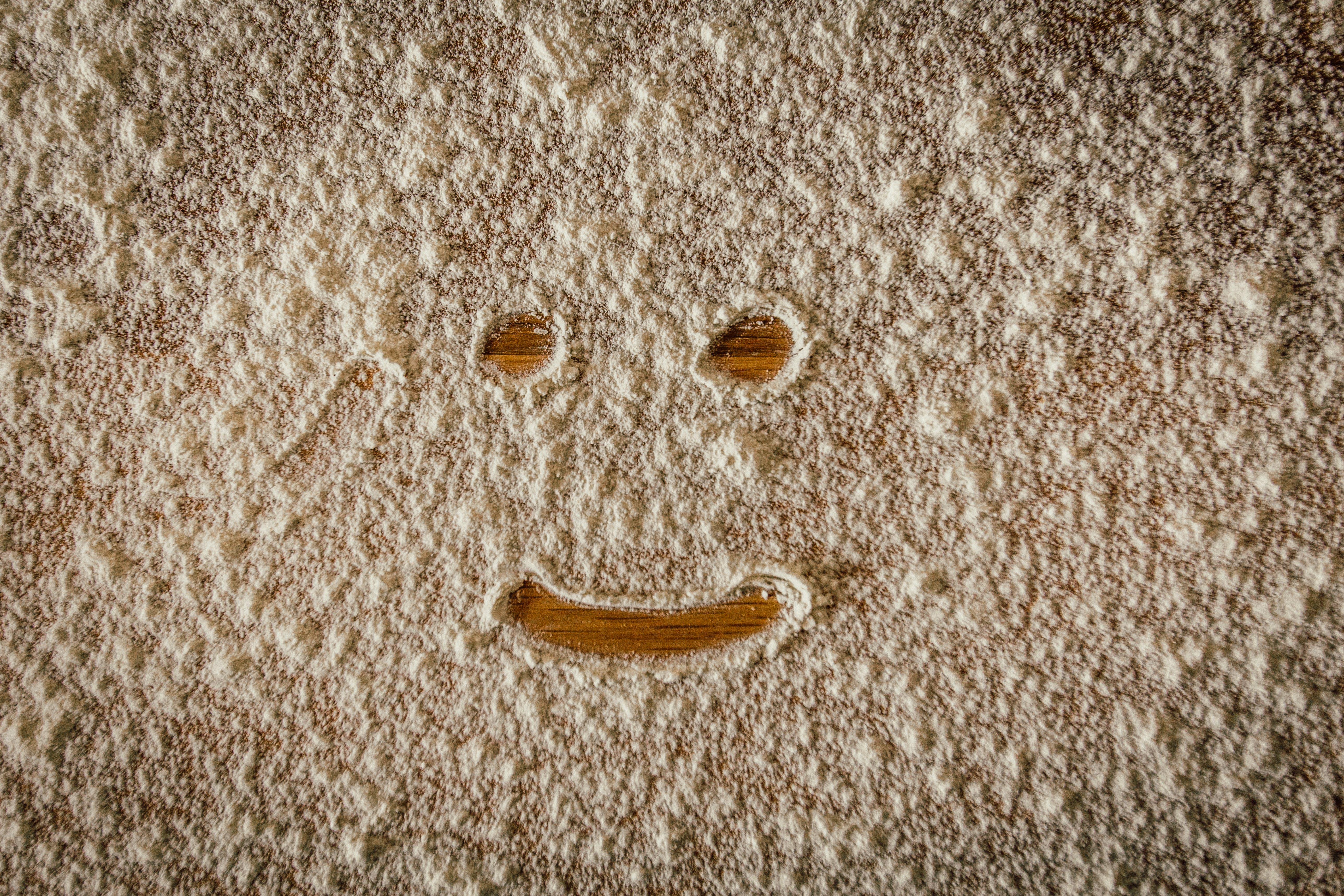 Flour With Smiling Face on Parquet Flooring