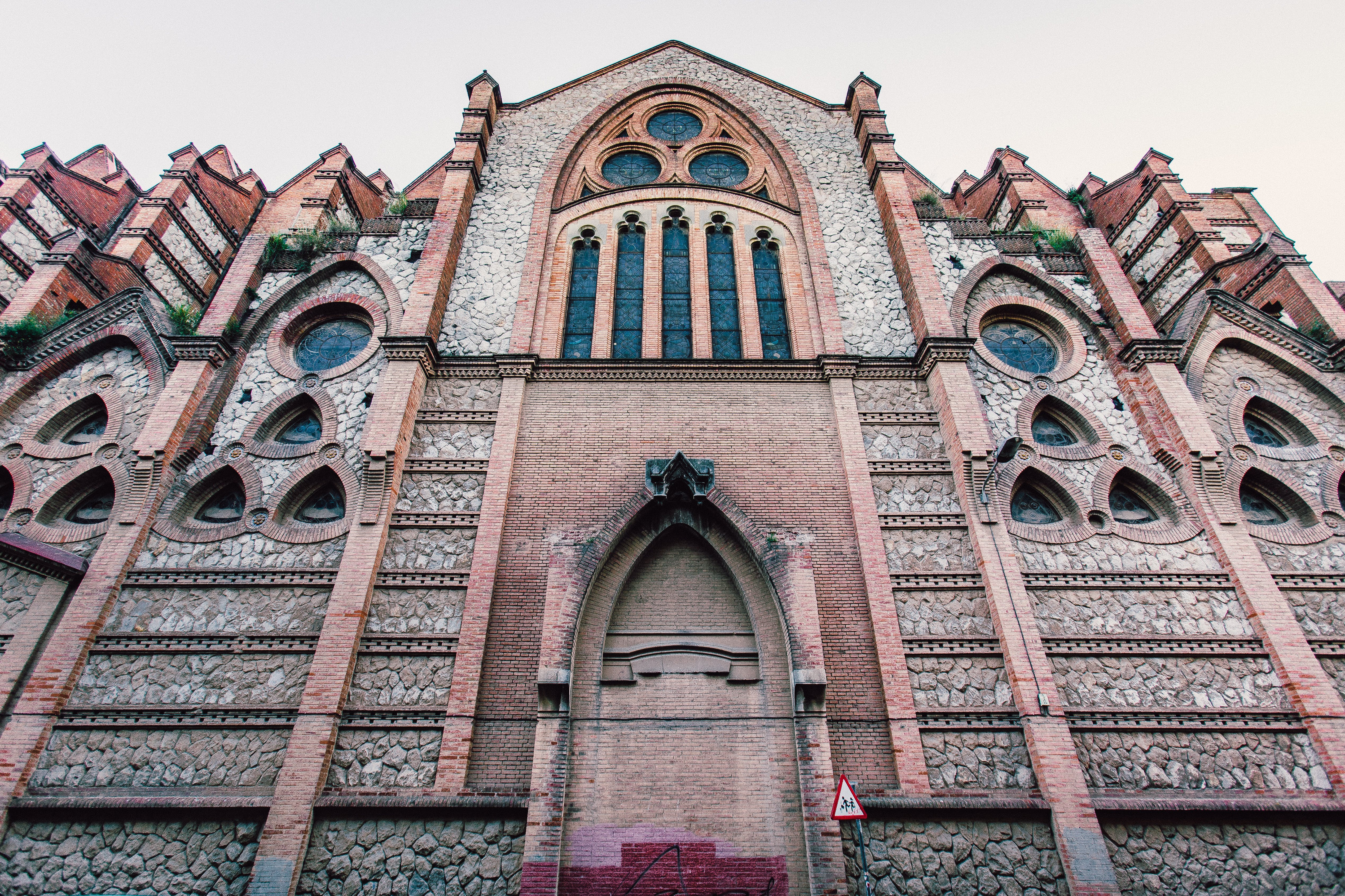 Front of a Cathedral in Worm's Eye View Photography