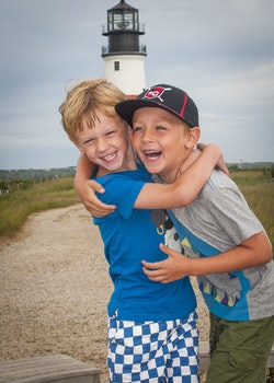 Free stock photo of lighthouse, kids, boys, laughing