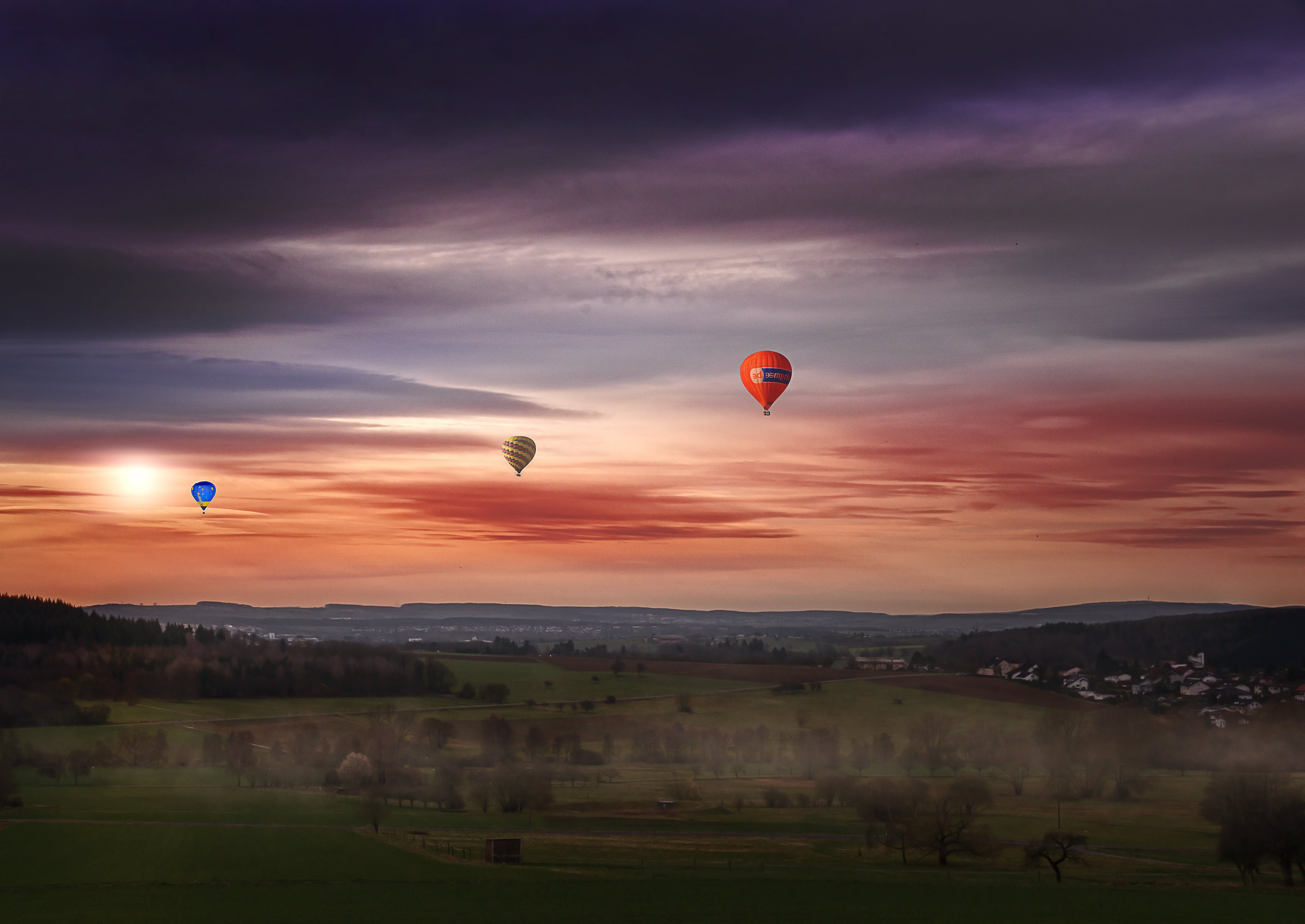 Red Green and Blue Hot Air Balloon Painting