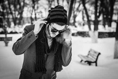 おとこ, コールド, 冬, 白黒の無料の写真素材
