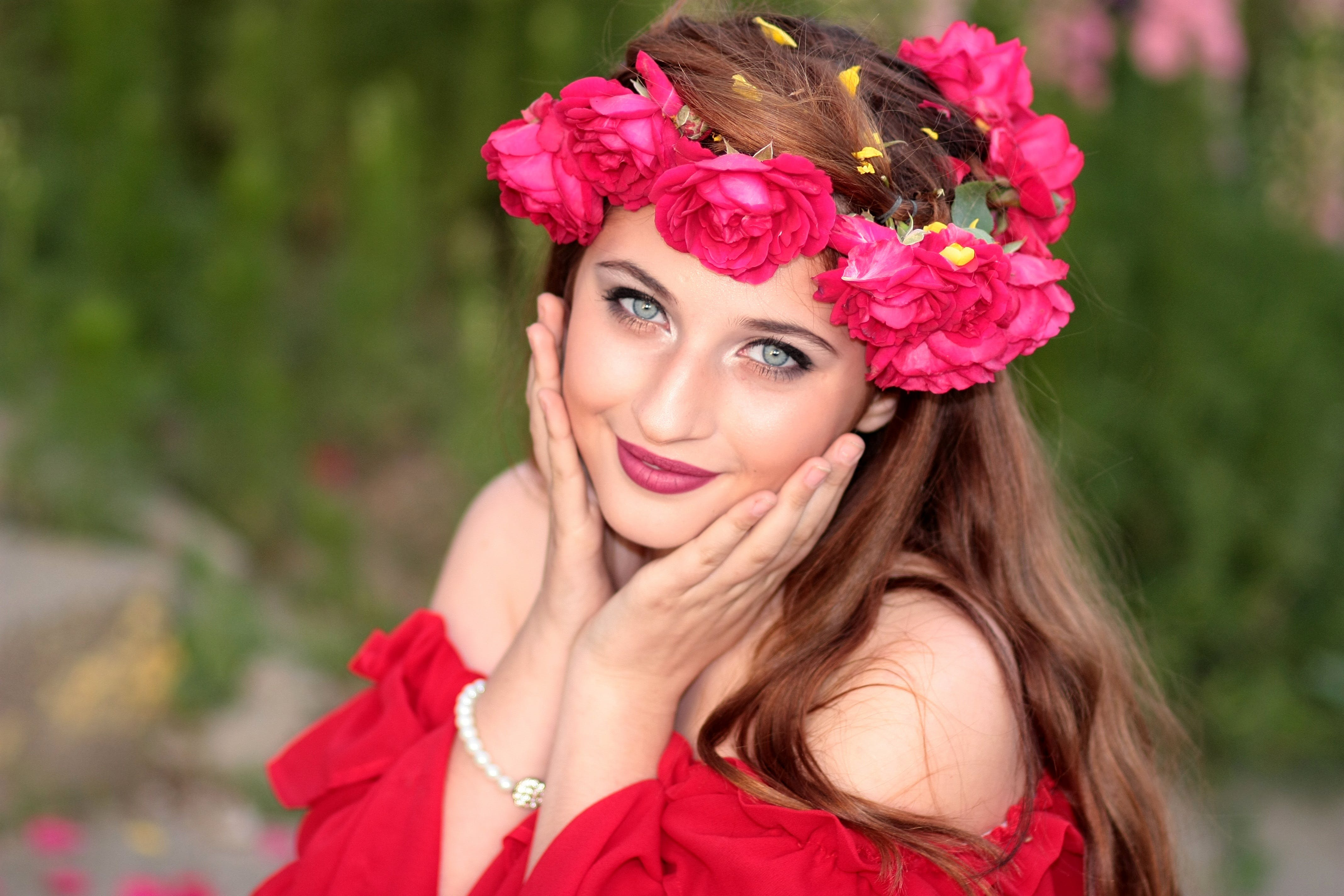 Woman in Off Shoulder Blouse and Pink Rose Headdress