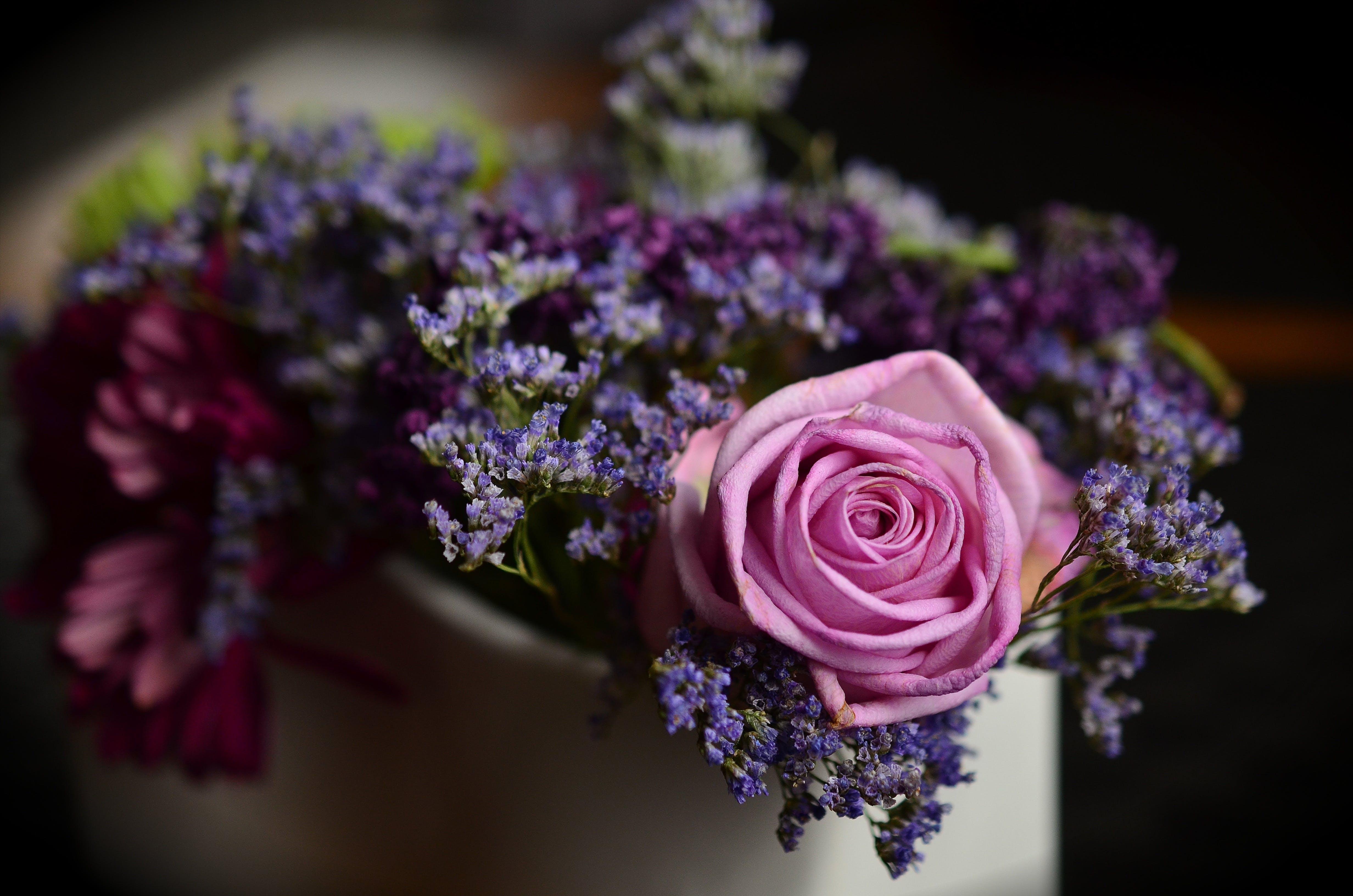 Pink Roses and Purple Lavander Boquet