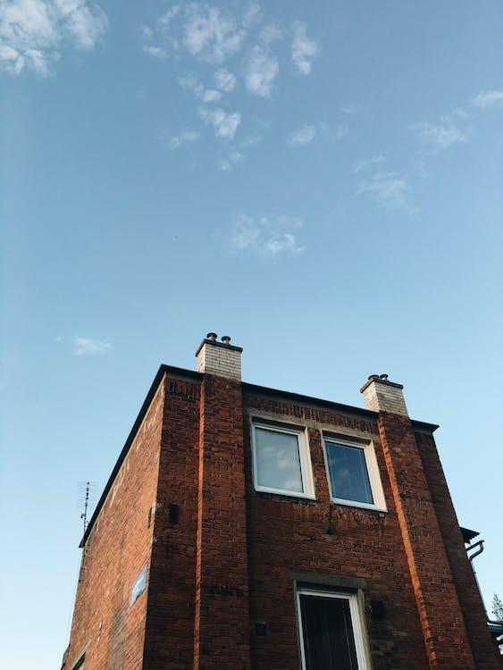 αρχιτεκτονική, γαλάζιος ουρανός, καφέ