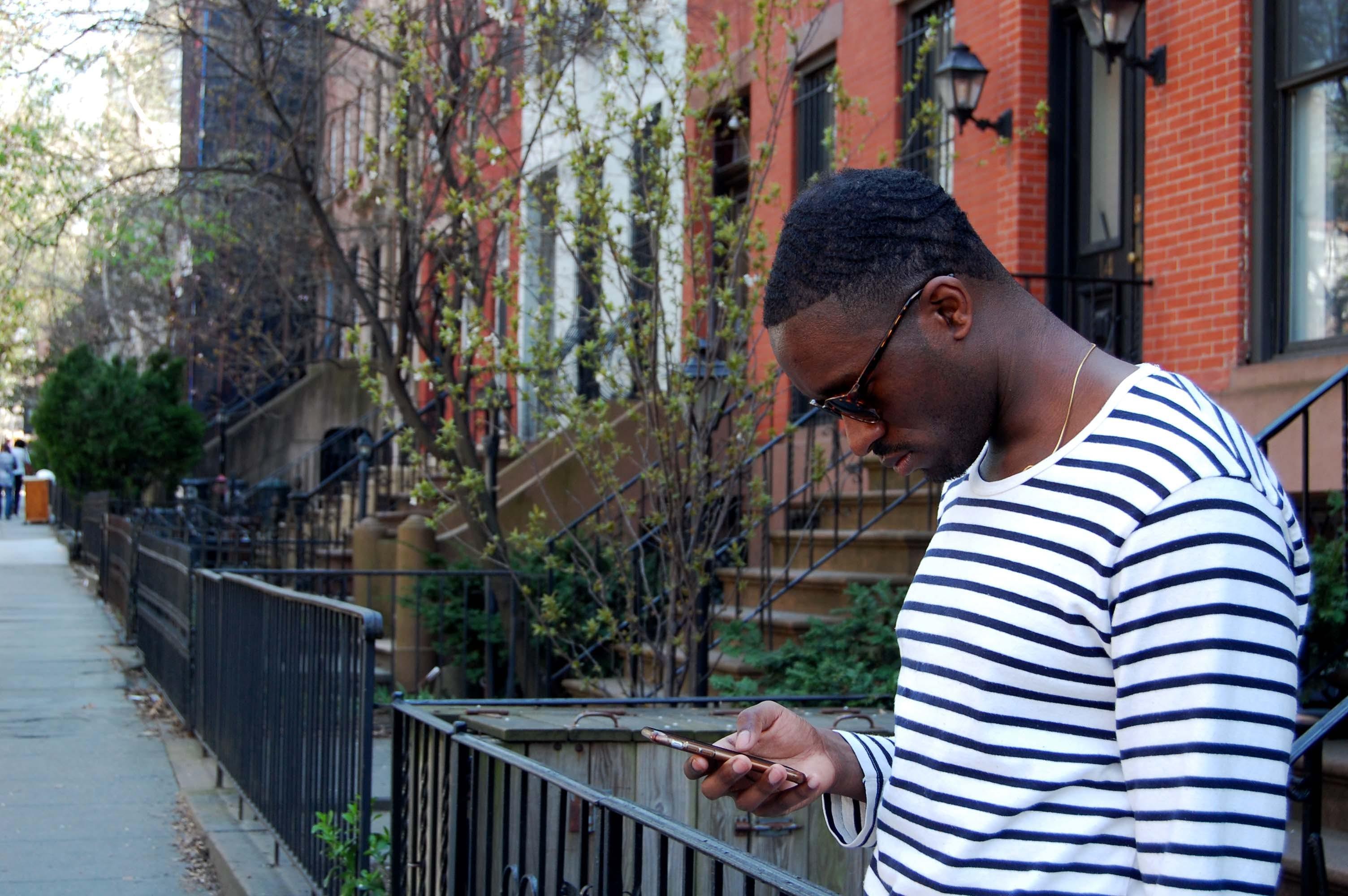 Men's White and Black Striped Long-sleeved Shirt