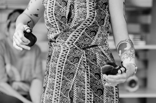 Grayscale Photo of Woman Wearing Dress