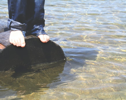 Free stock photo of water, lake, jeans, toes