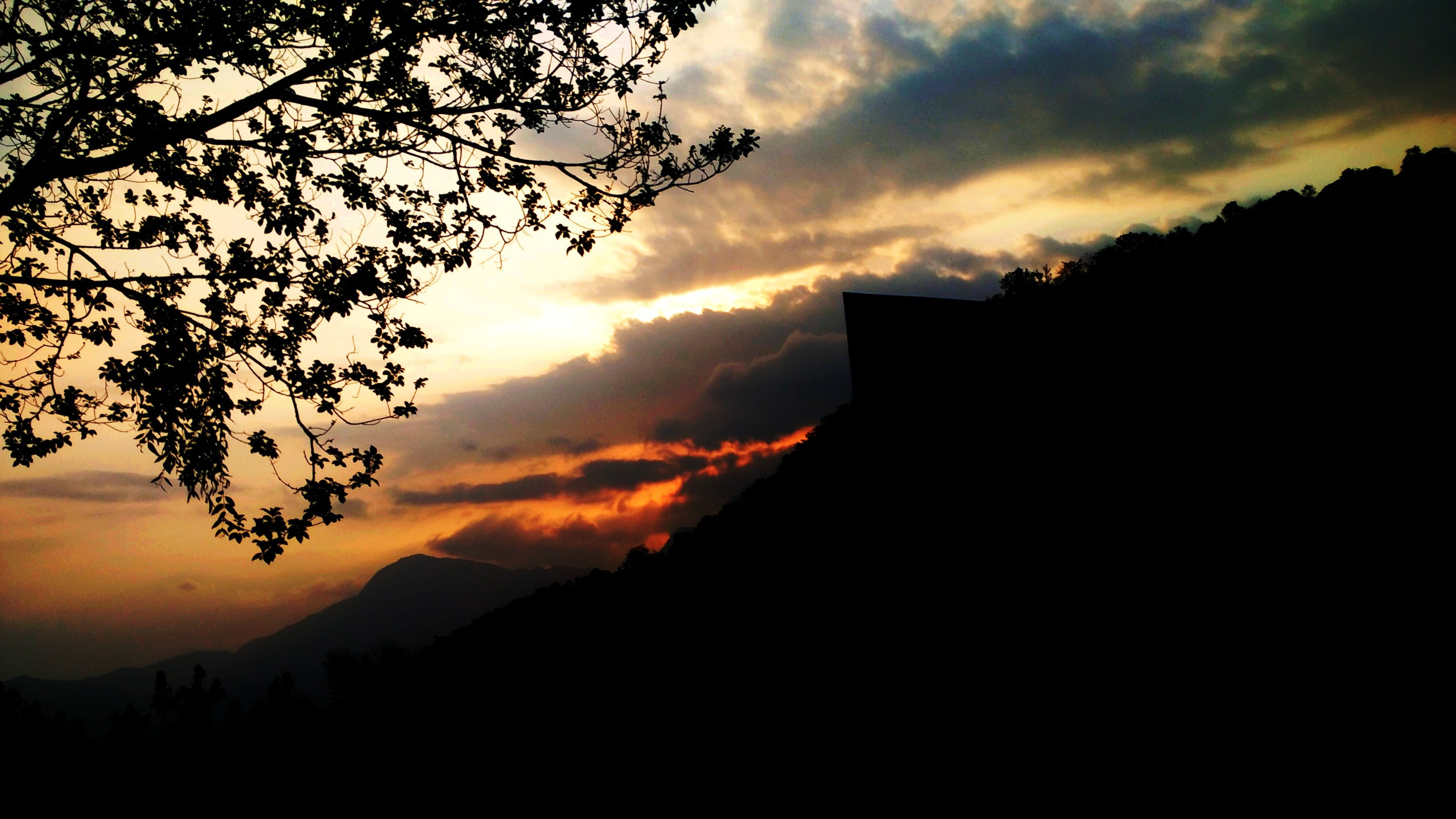 Silhouette View of Landscape Under Golden Hour