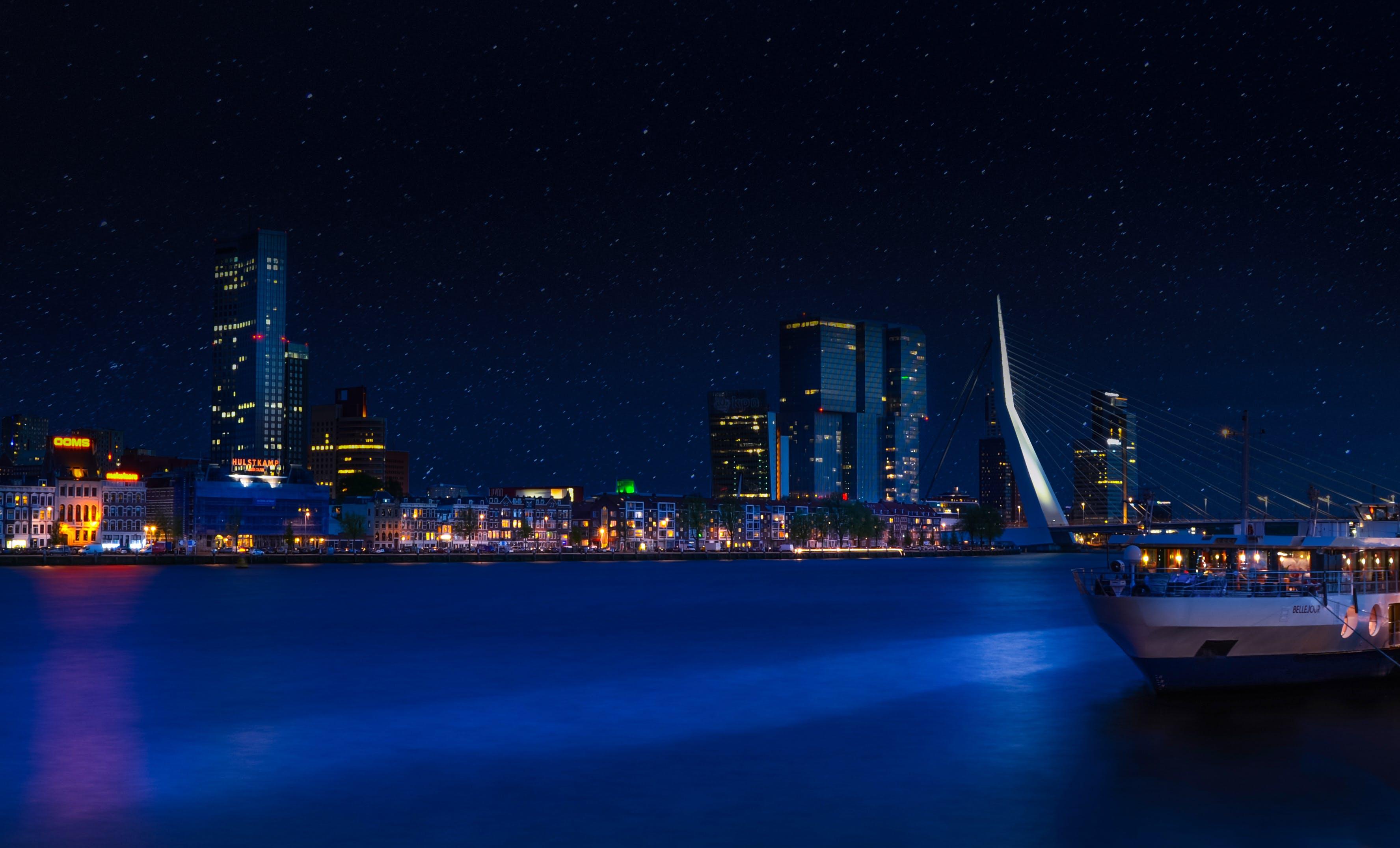 City Skyline Under Clear Sky during Nighttime