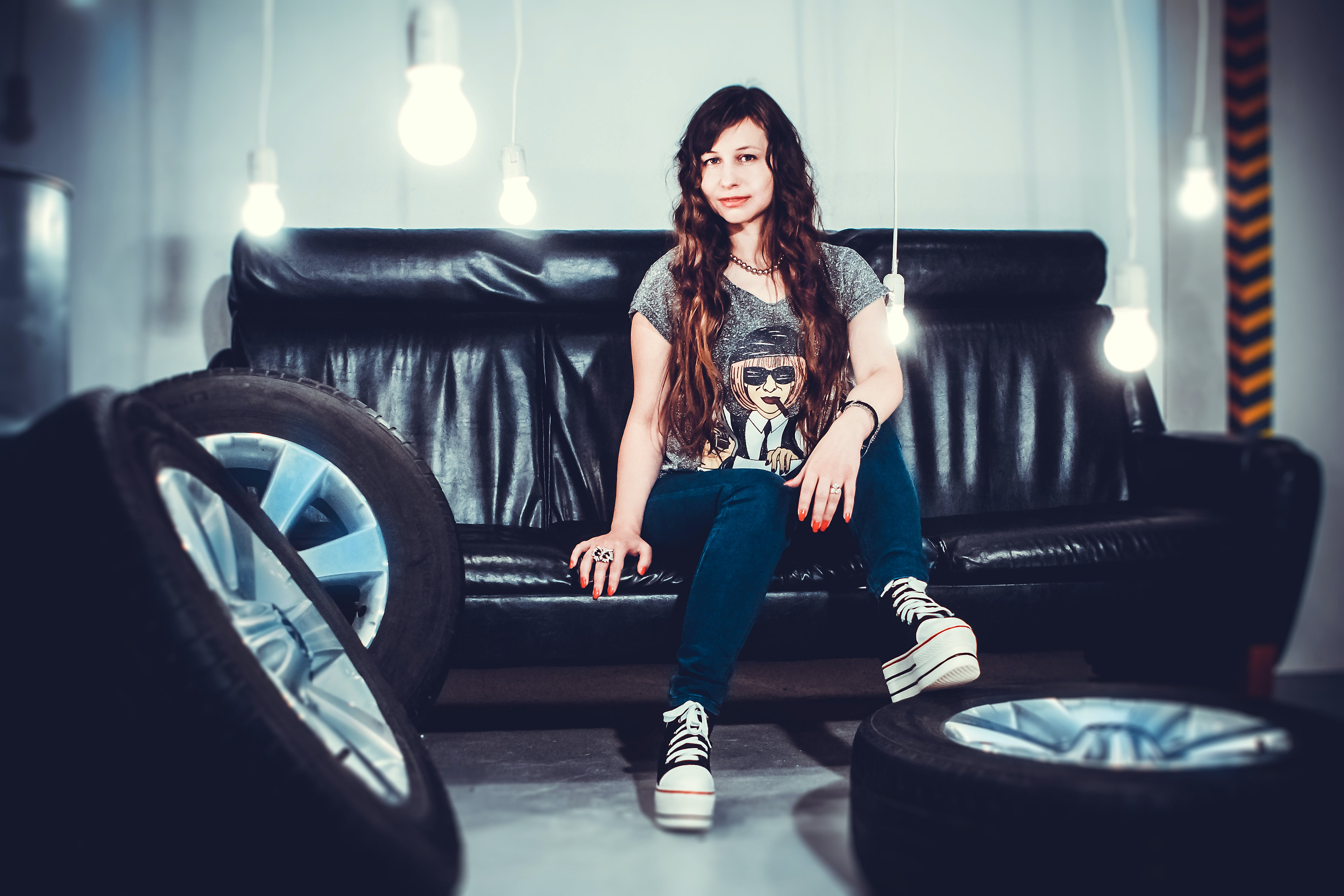 Free stock photo of curls, girl, light bulb, photo shoot