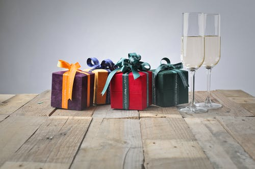 Five Assorted Gift Boxes and Two Flute Glasses