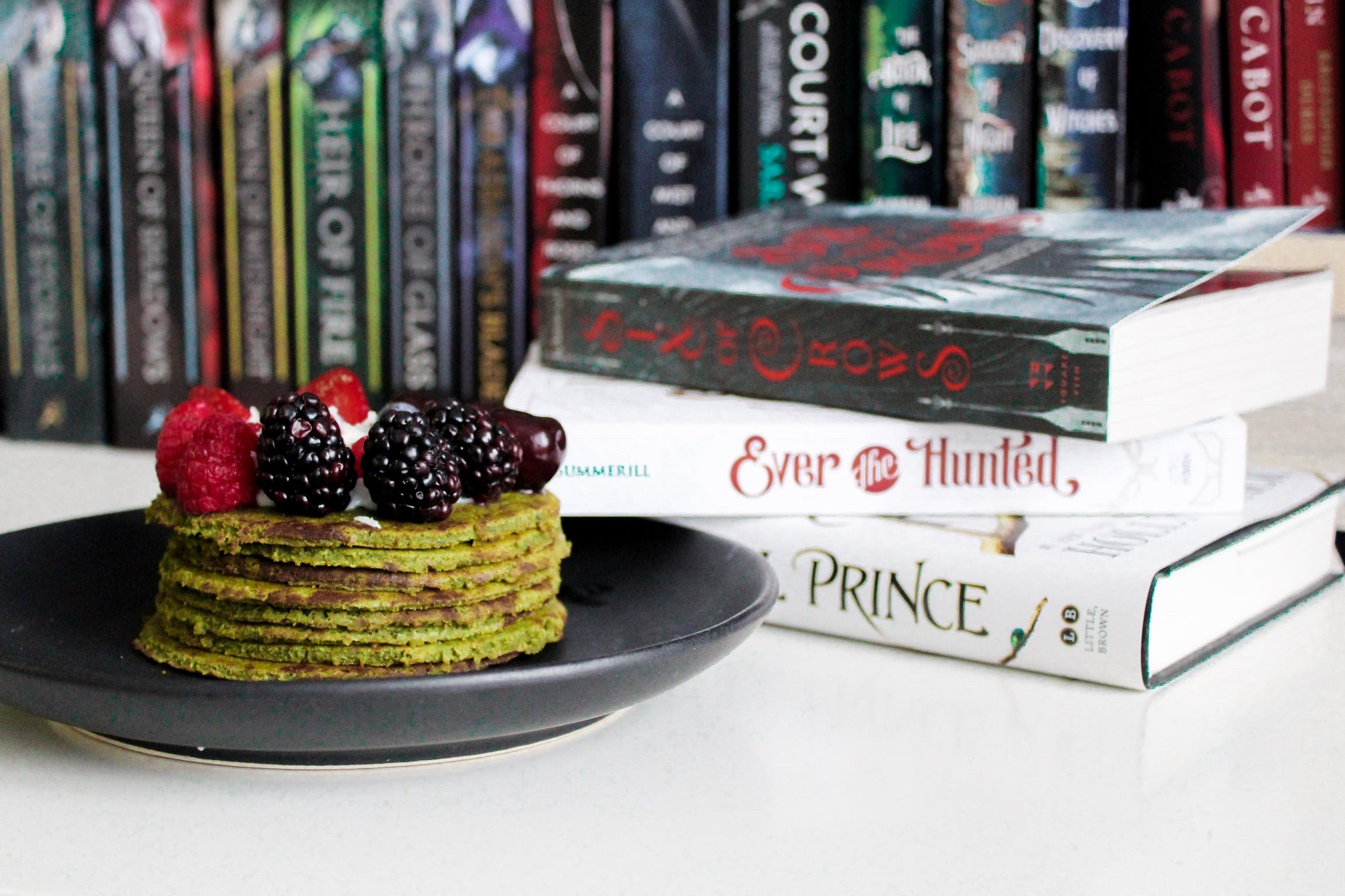 Books Near Cake on Plate