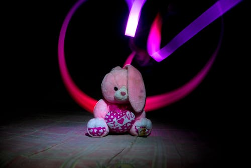 Pink and White Bunny Plush Toy