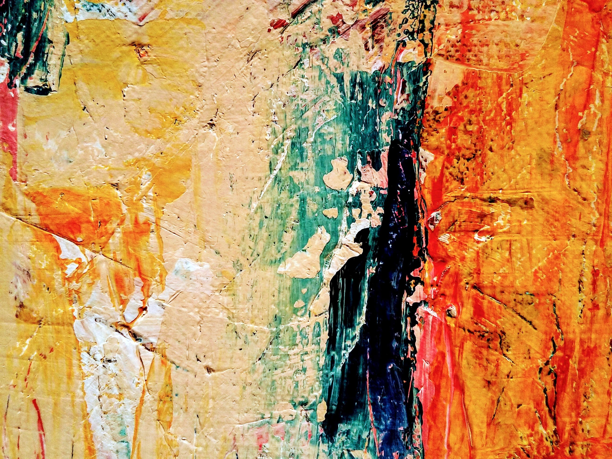 Orange And Blue Abstract Painting & 183 Free Stock Photo