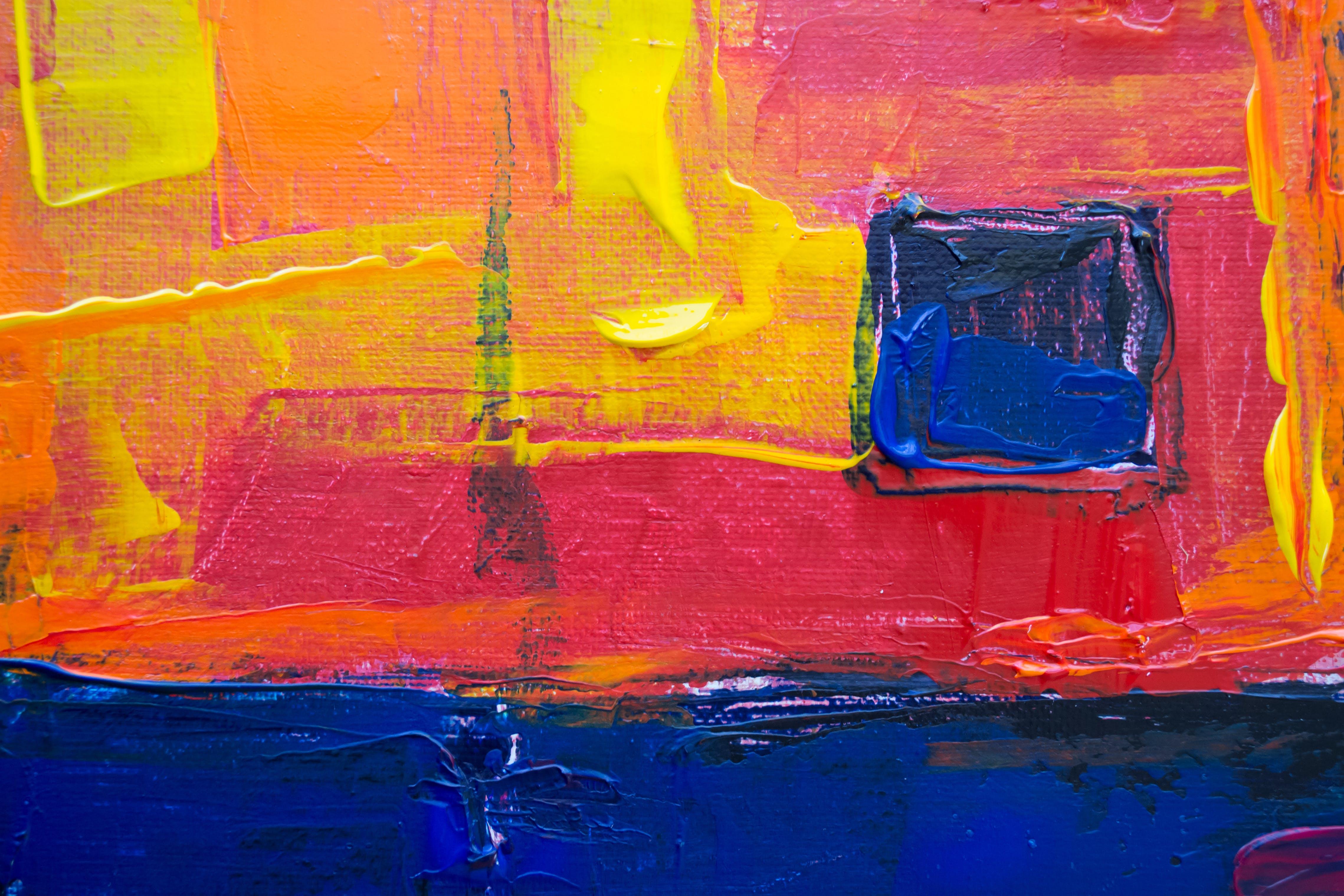 Free stock photo of acrylic painting, art, blue, canvas