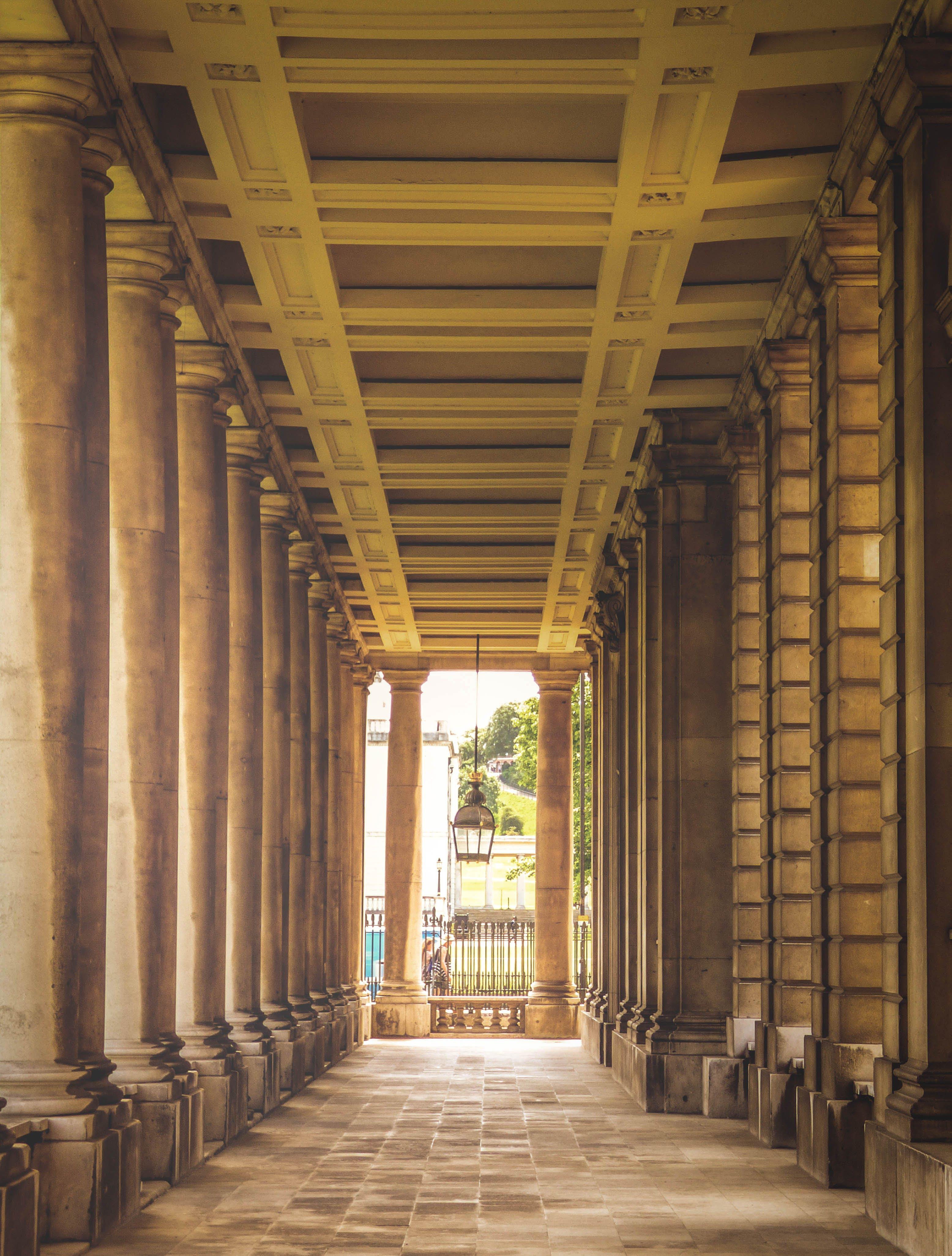Beige Pathway With Pillars