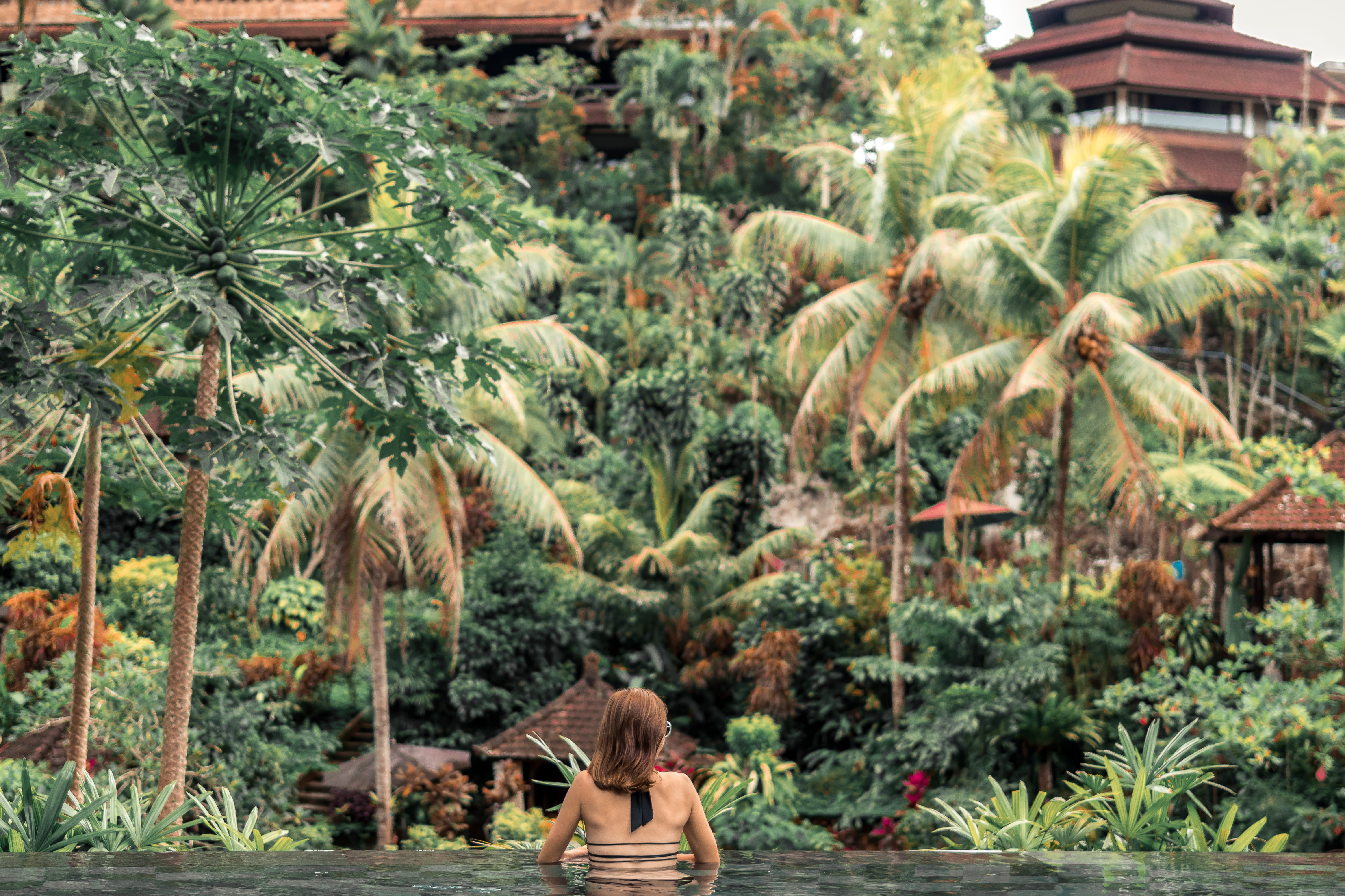 Woman Near Green Trees on the Pool