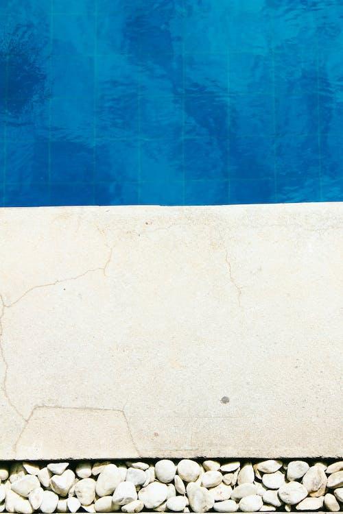 binnenzwembad, blauw, blauw en wit