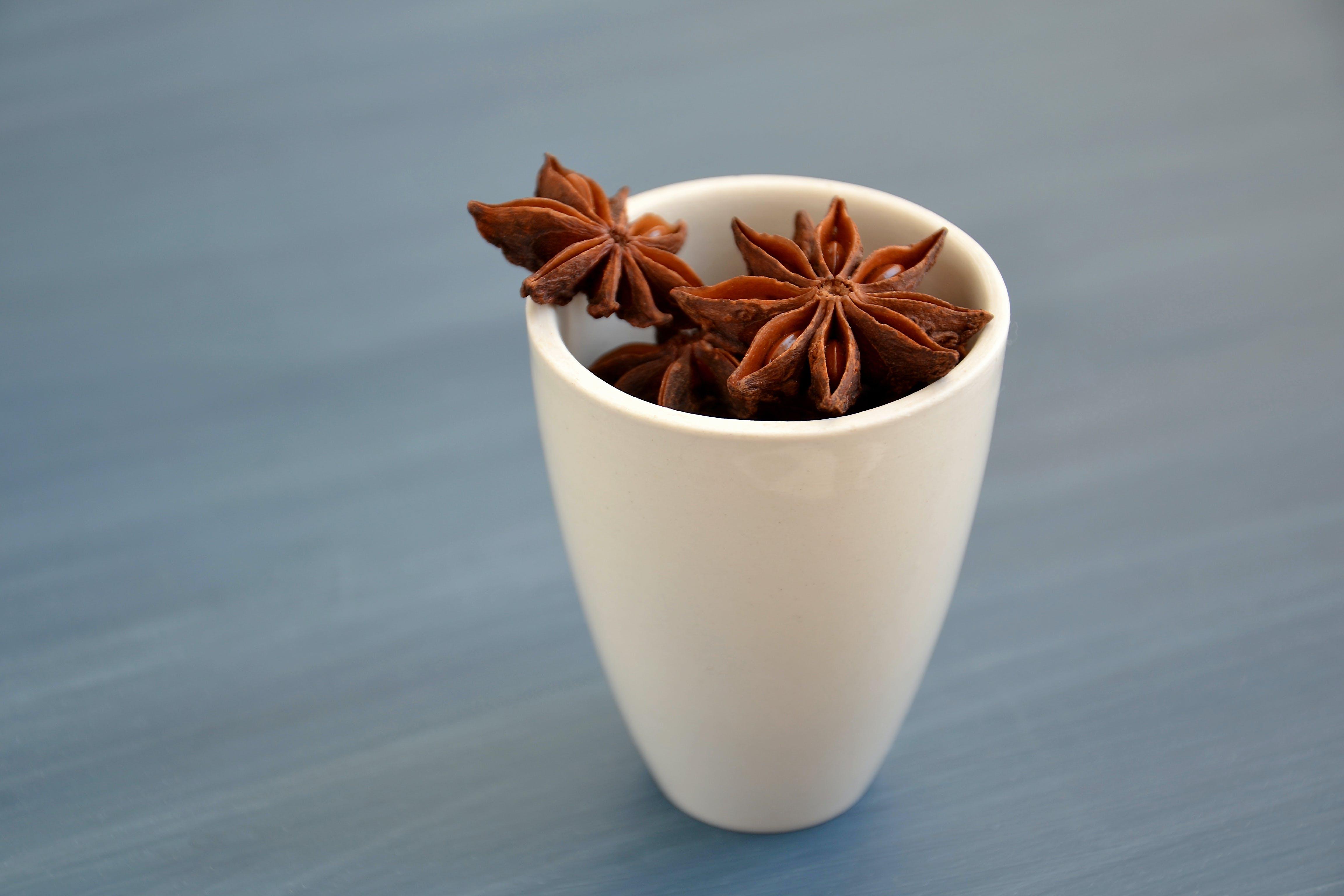 Brown Star Anise on White Ceramic Mug