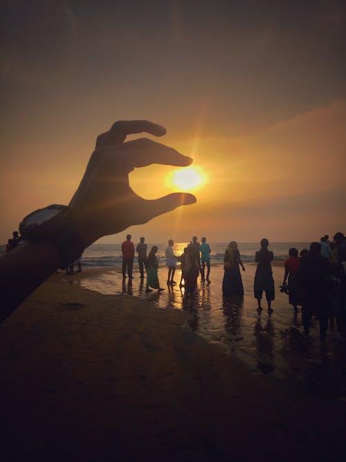 คลังภาพถ่ายฟรี ของ azhikode, ชายหาด, ดวงอาทิตย์, ดวงอาทิตย์อยู่ในมือ