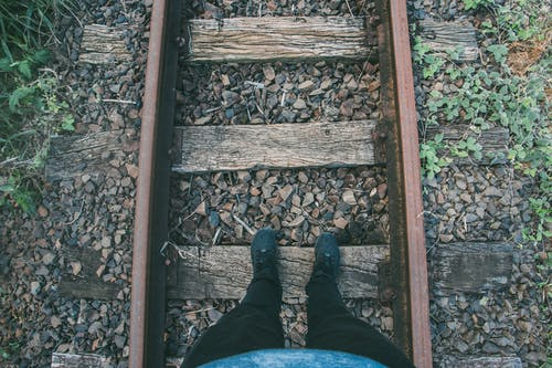 Person in Black Fitted Jeans and Sneakers Stepping on Wooden Trail Way