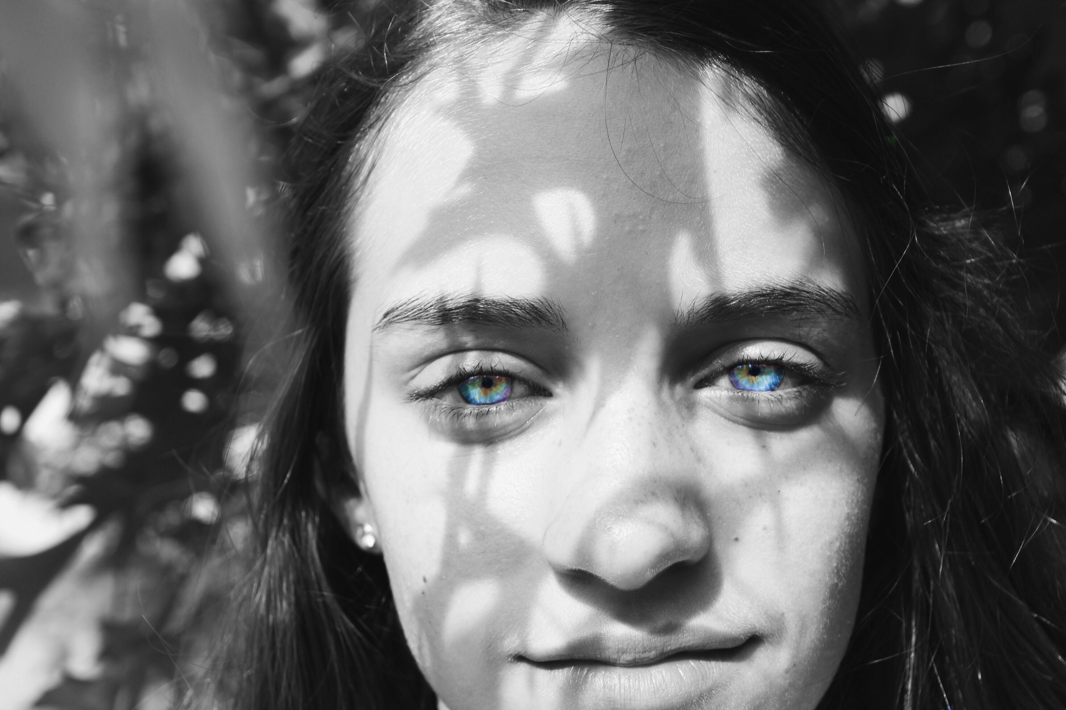 Free stock photo of black-and-white, blue, eyes, girl