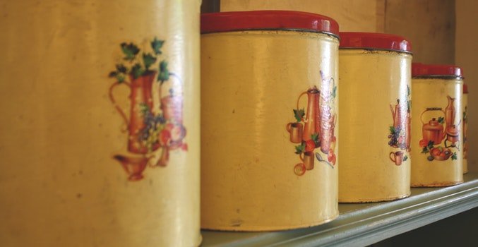 Free stock photo of vintage, kitchen, cooking, containers