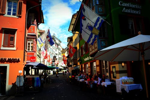 Free stock photo of flags, old town, zurich