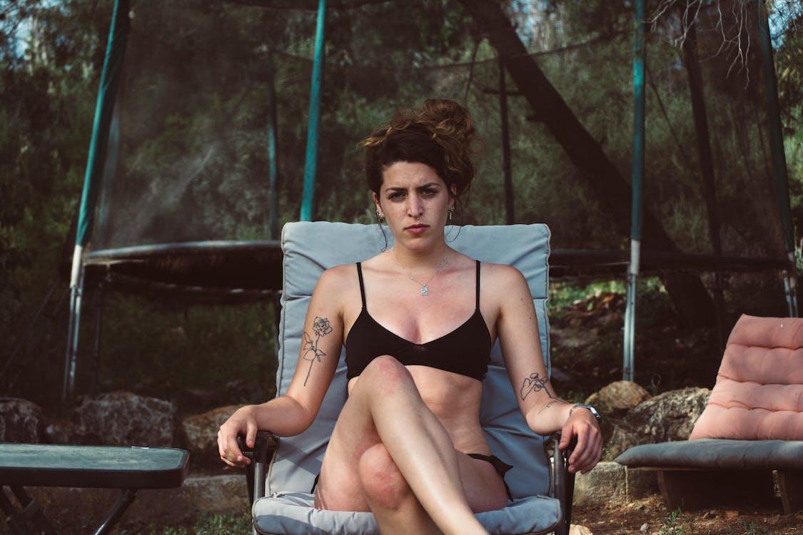 kvinde, rekreation, sidde