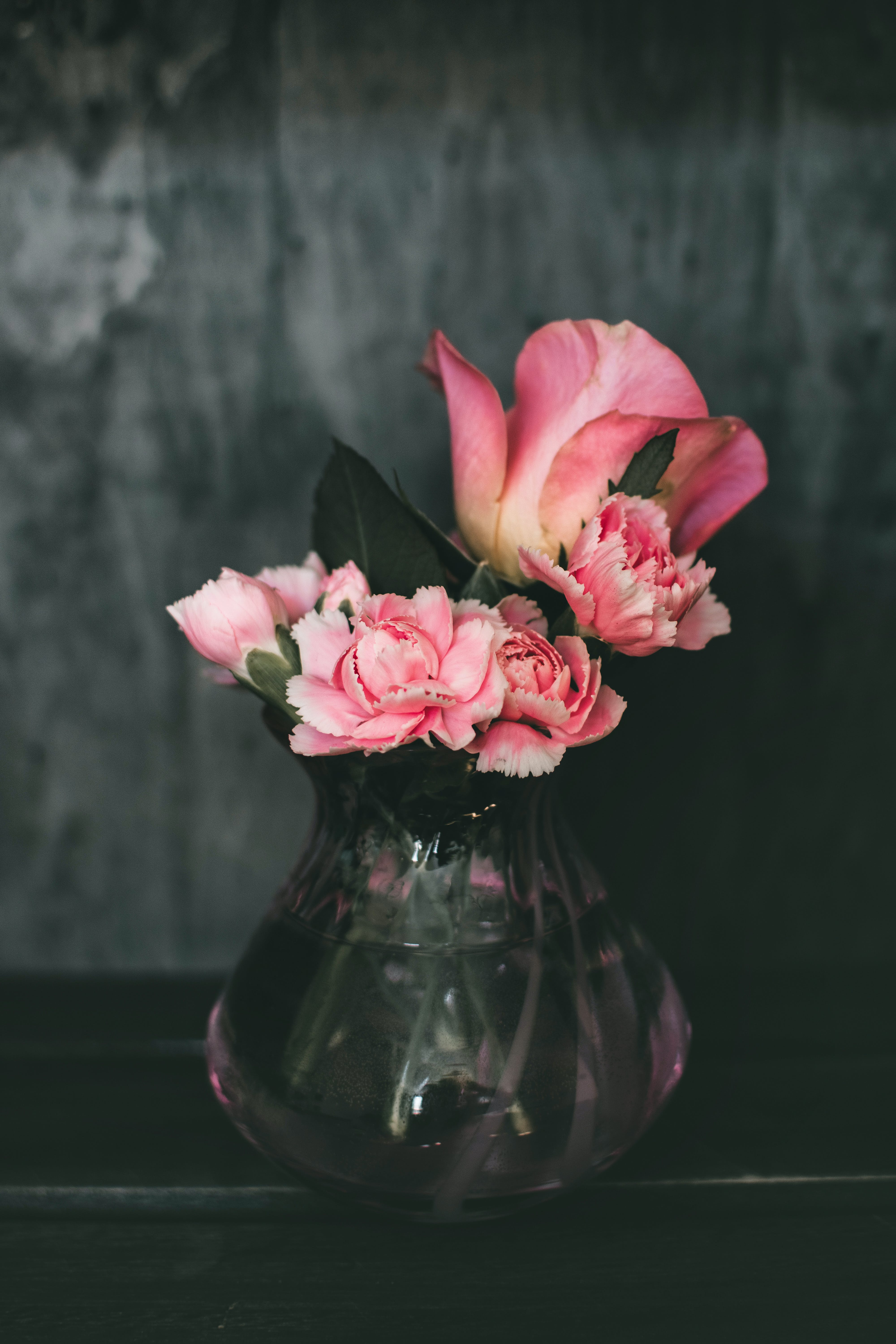 Pink Carnation Flowers and Pink Rose Flowers Centerpiece
