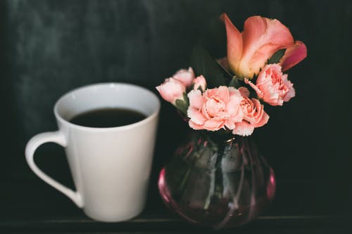 Pink Carnation Flower and Pink Rose Flower in Clear Glass Vase Beside Mug of Coffee