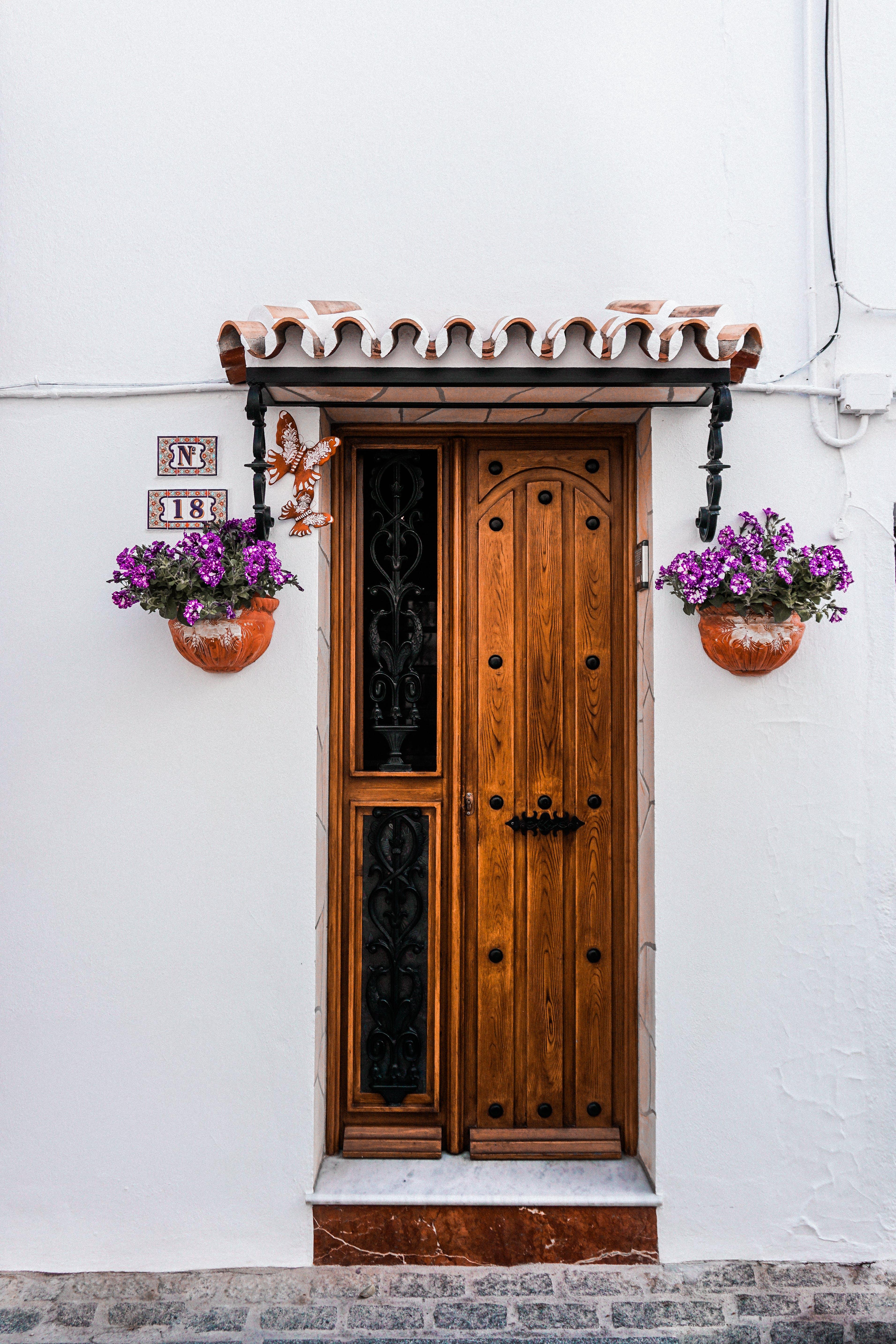 Brown Wooden Door Beside Two Purple Petaled Flowers