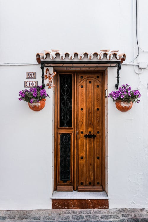 Brown Wooden Door Beside Two Purple Petaled Flowers