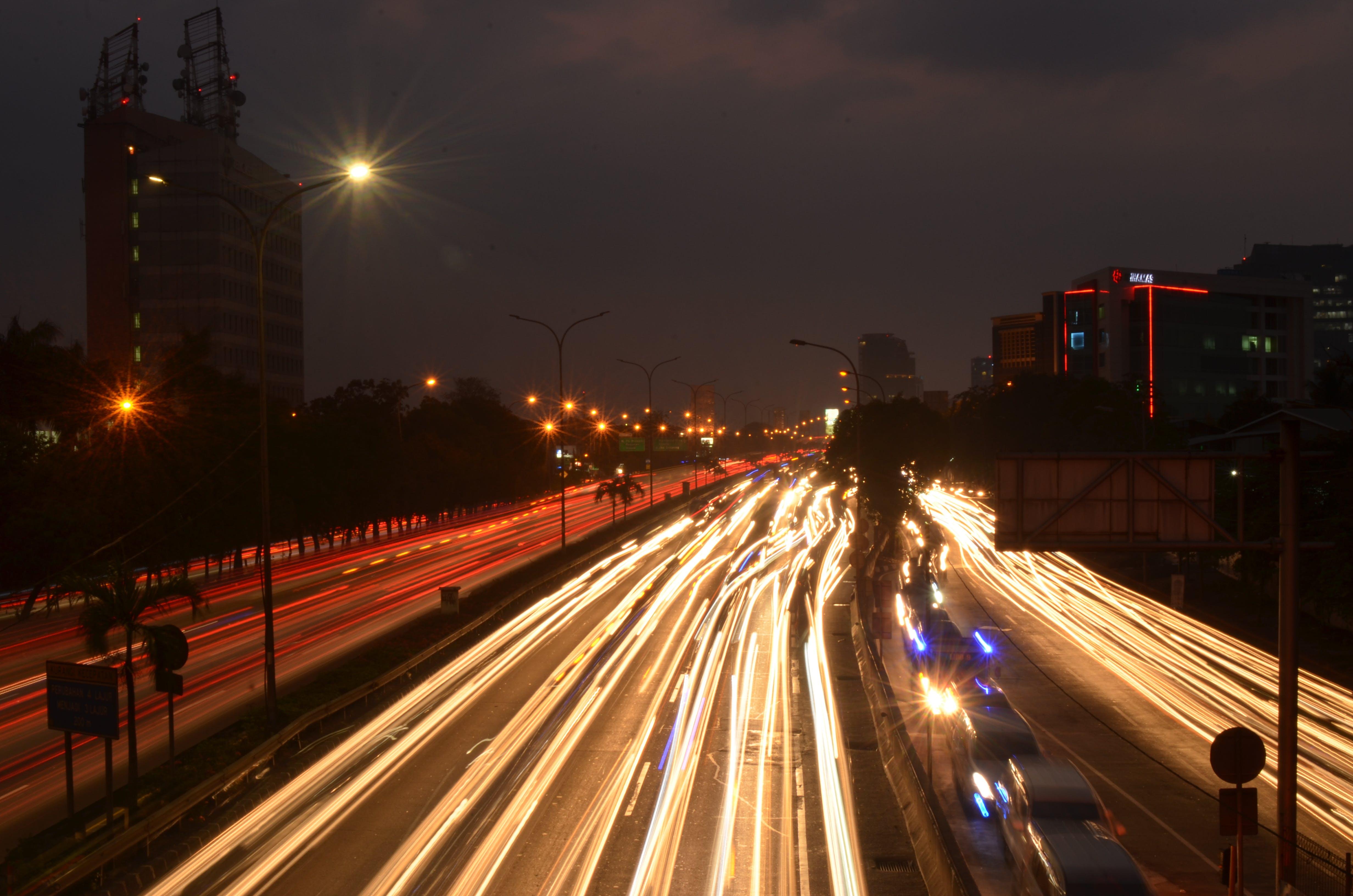 Free stock photo of buildings, car lights, city, city lights