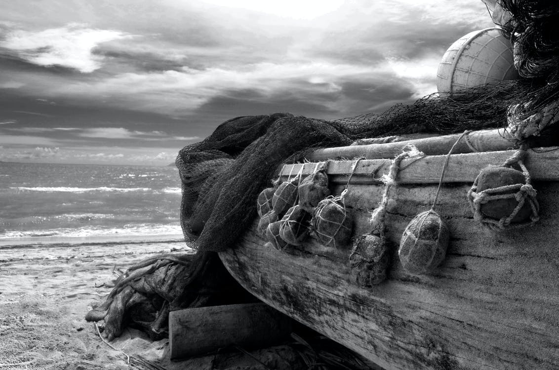 beach, black and white, boat