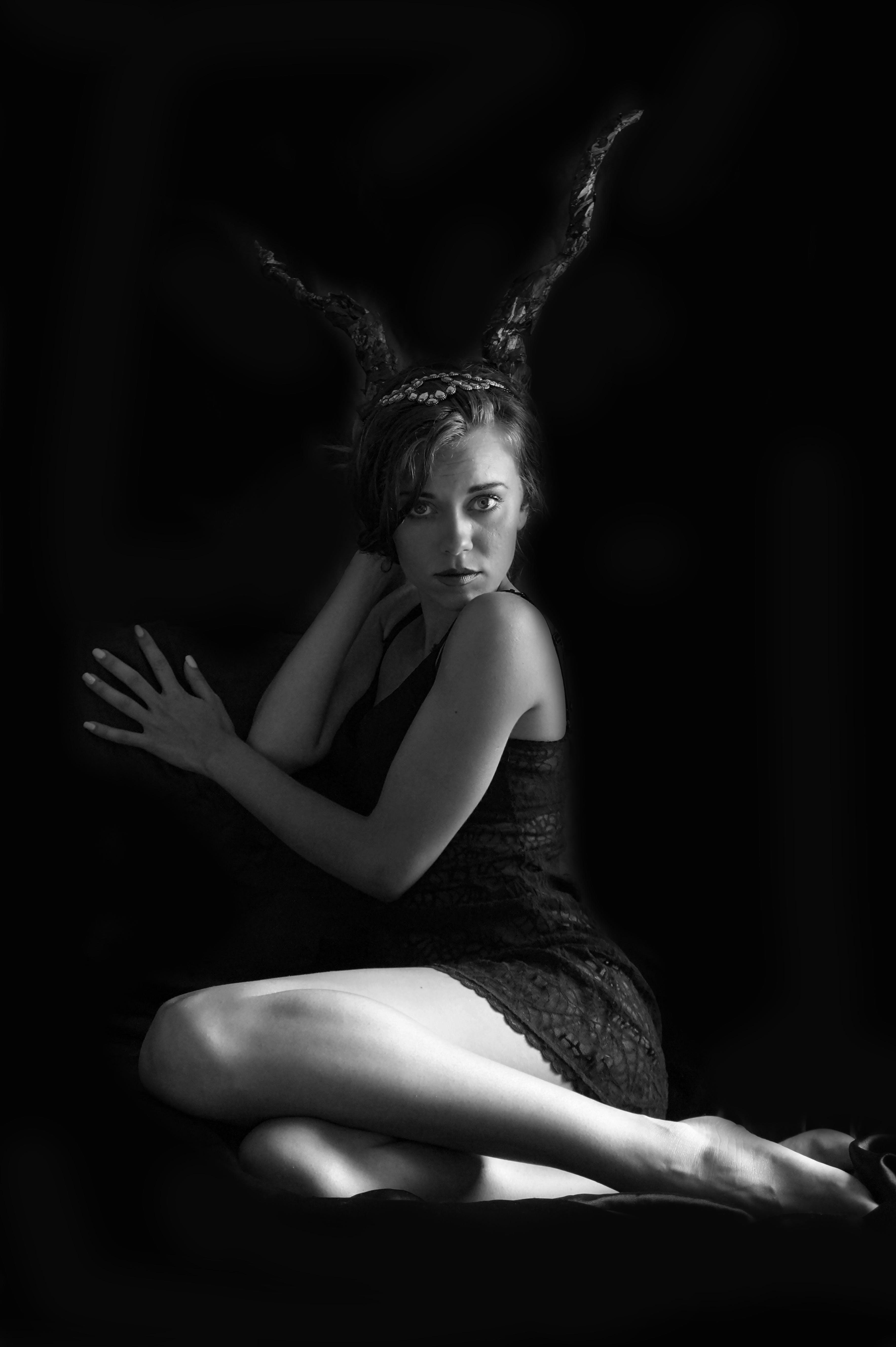 Greyscale Photography of Woman Wearing Strapless Dress