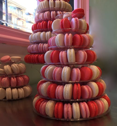 Free stock photo of macaroons, pink pastries