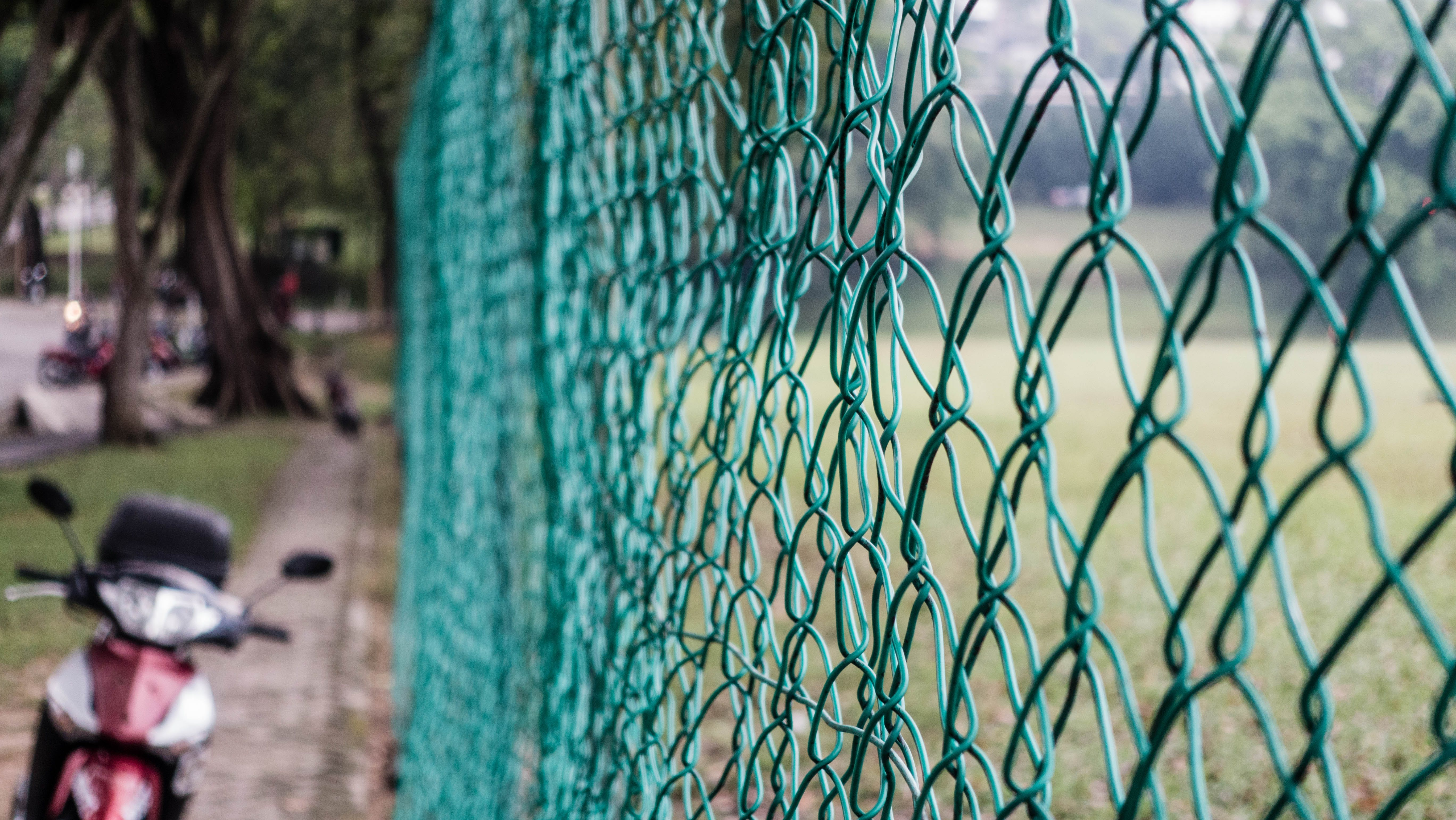 Green Cyclone Chain Fence