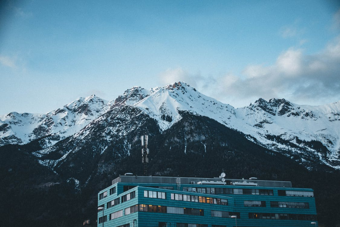 bjerg, bjergtinde, blå himmel
