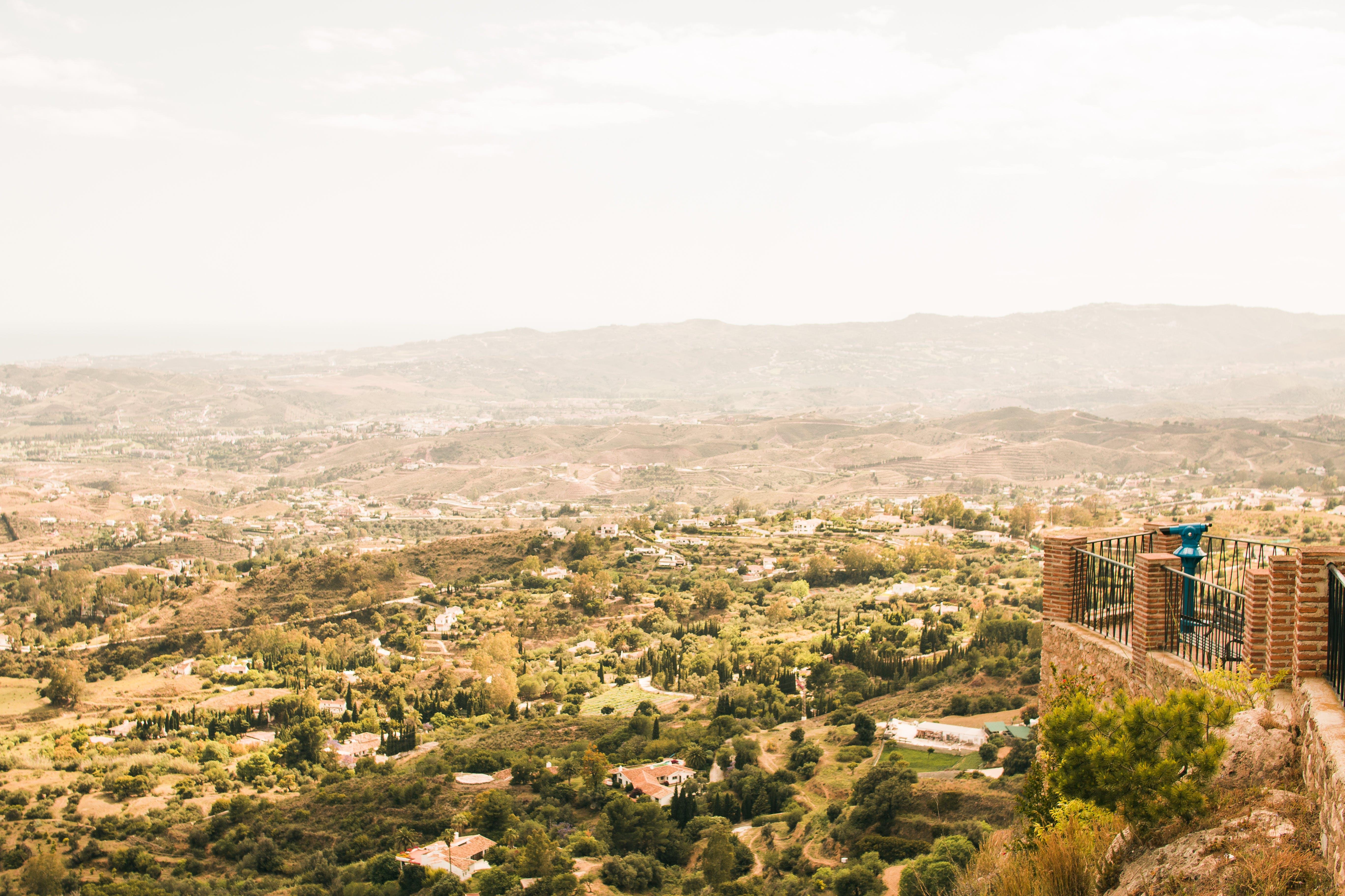 city, landscape, mountain