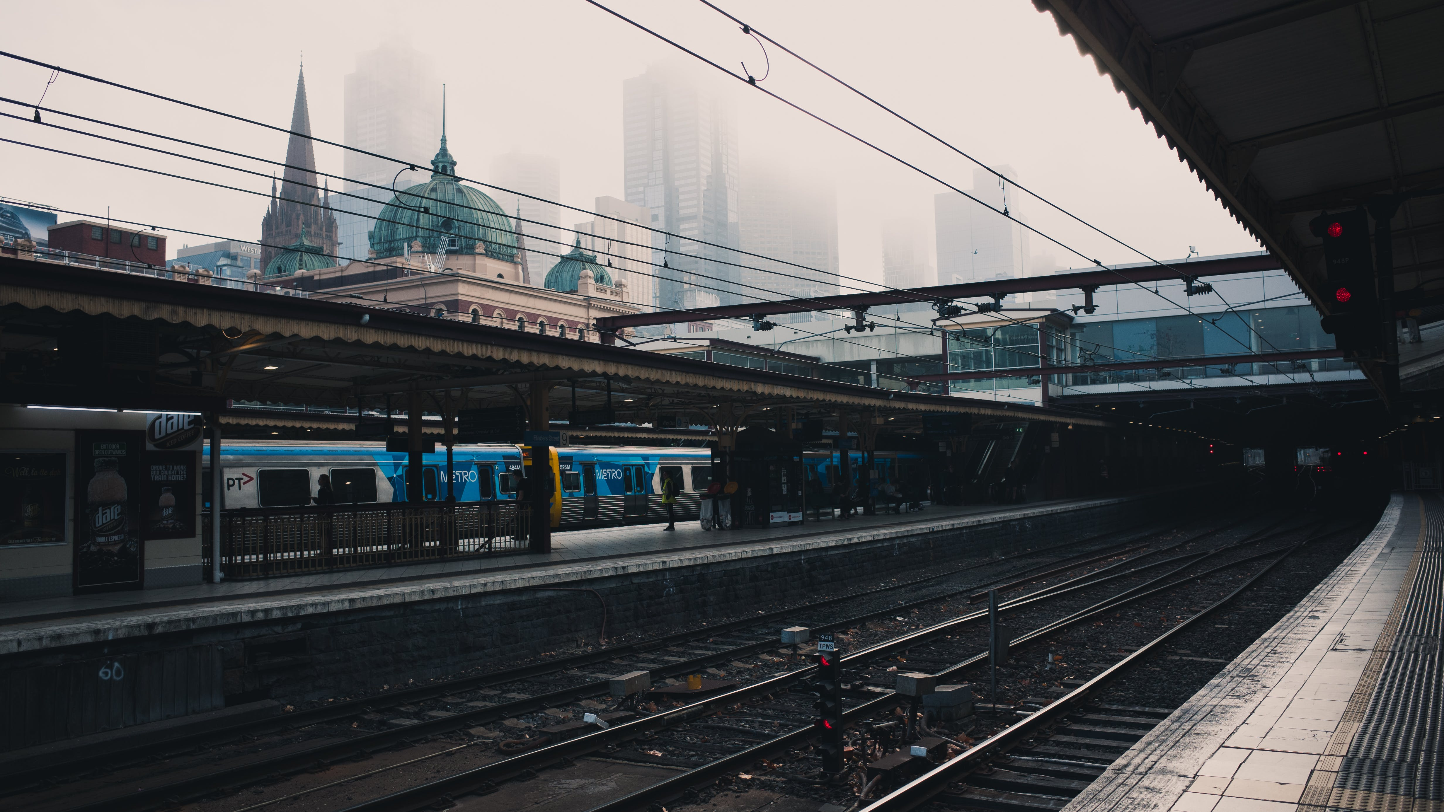 Stock Photography of Blue and White Train at Station