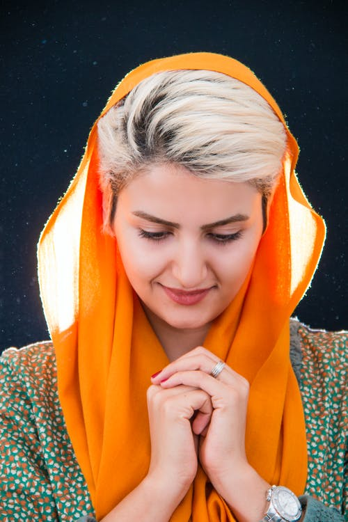 Woman Wearing Orange Hijab Headdress