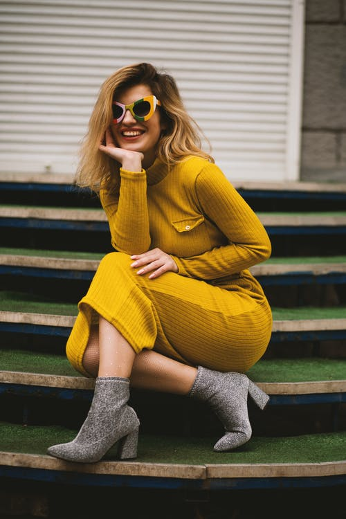 Women's Yellow Long-sleeved Dress